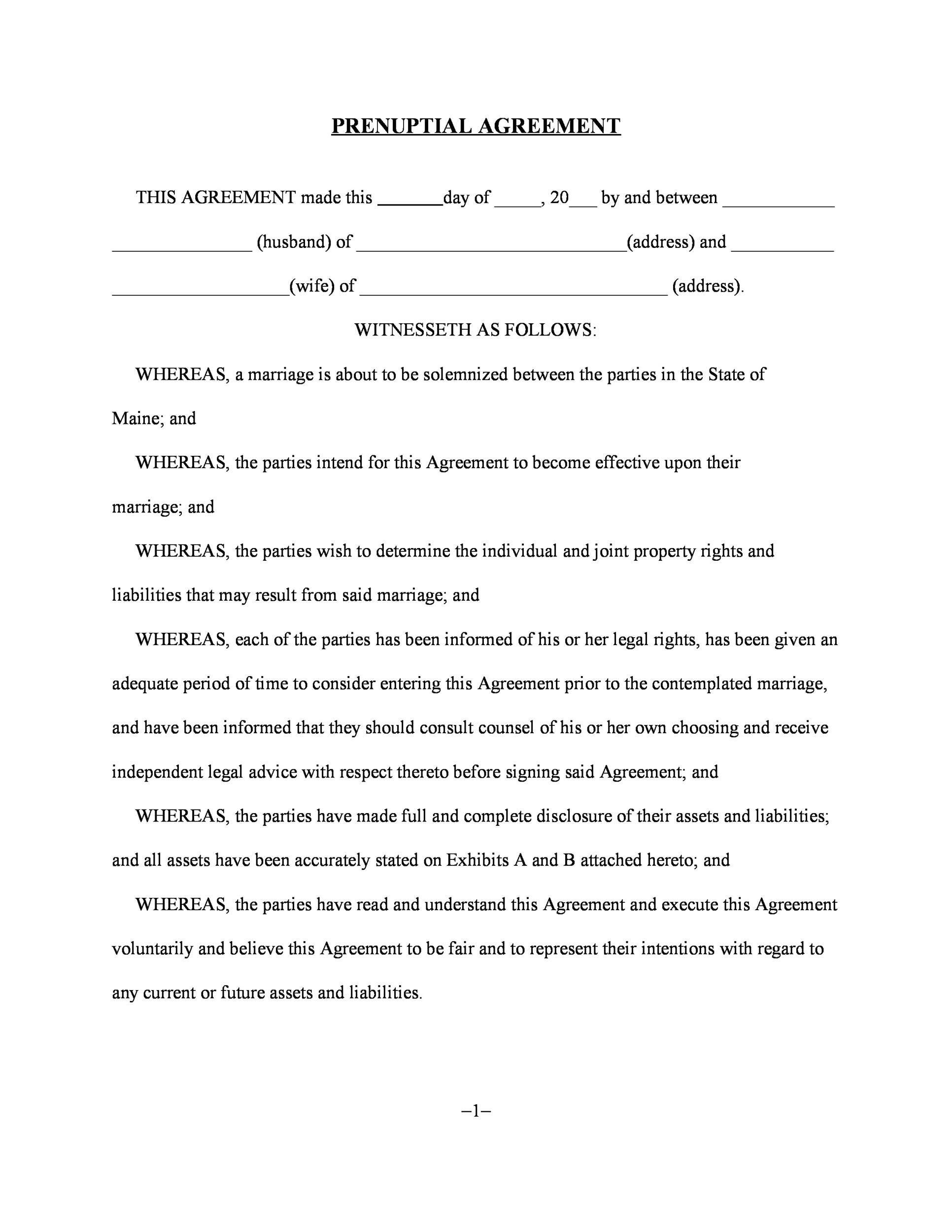 Prenuptial agreement template.