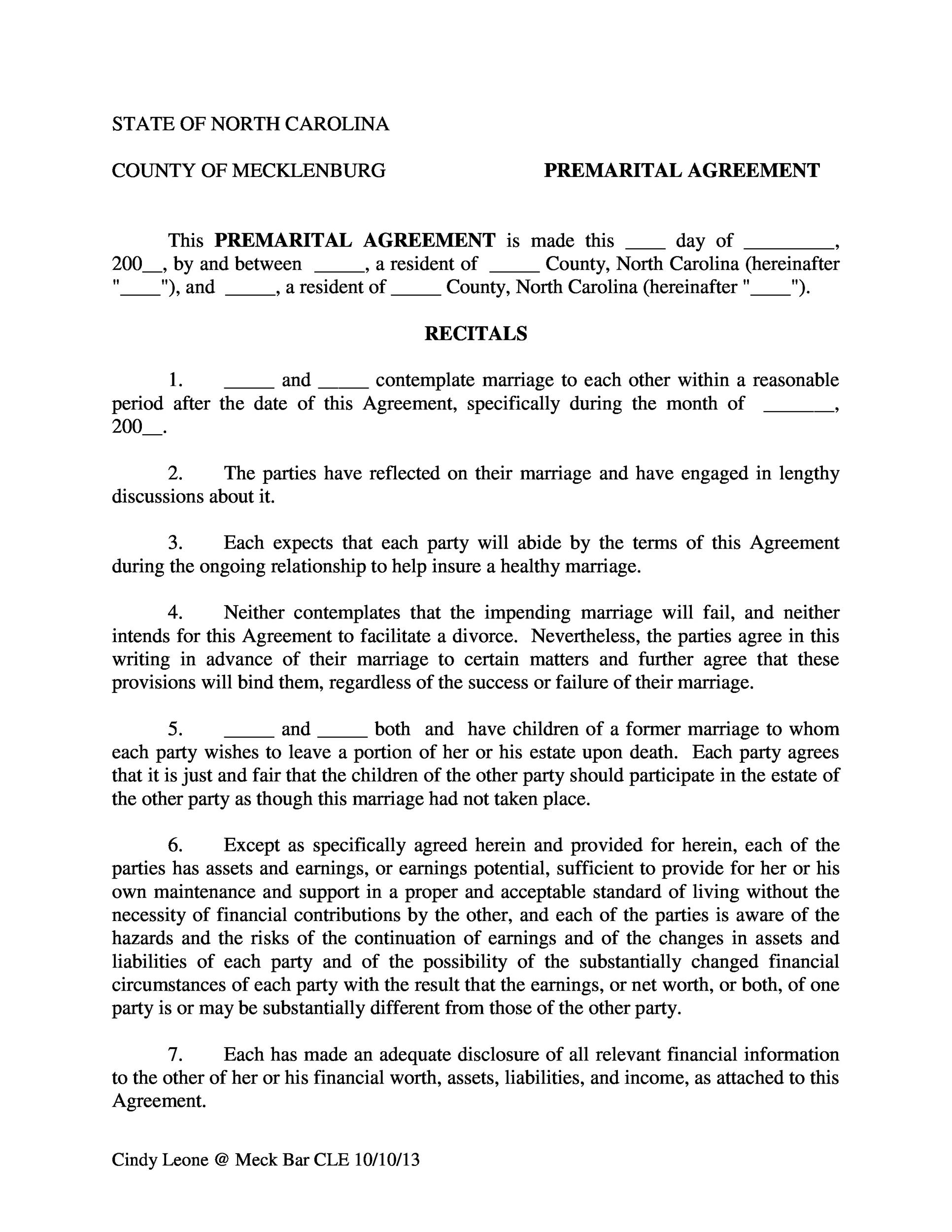 30 Prenuptial Agreement Samples & Forms Template Lab