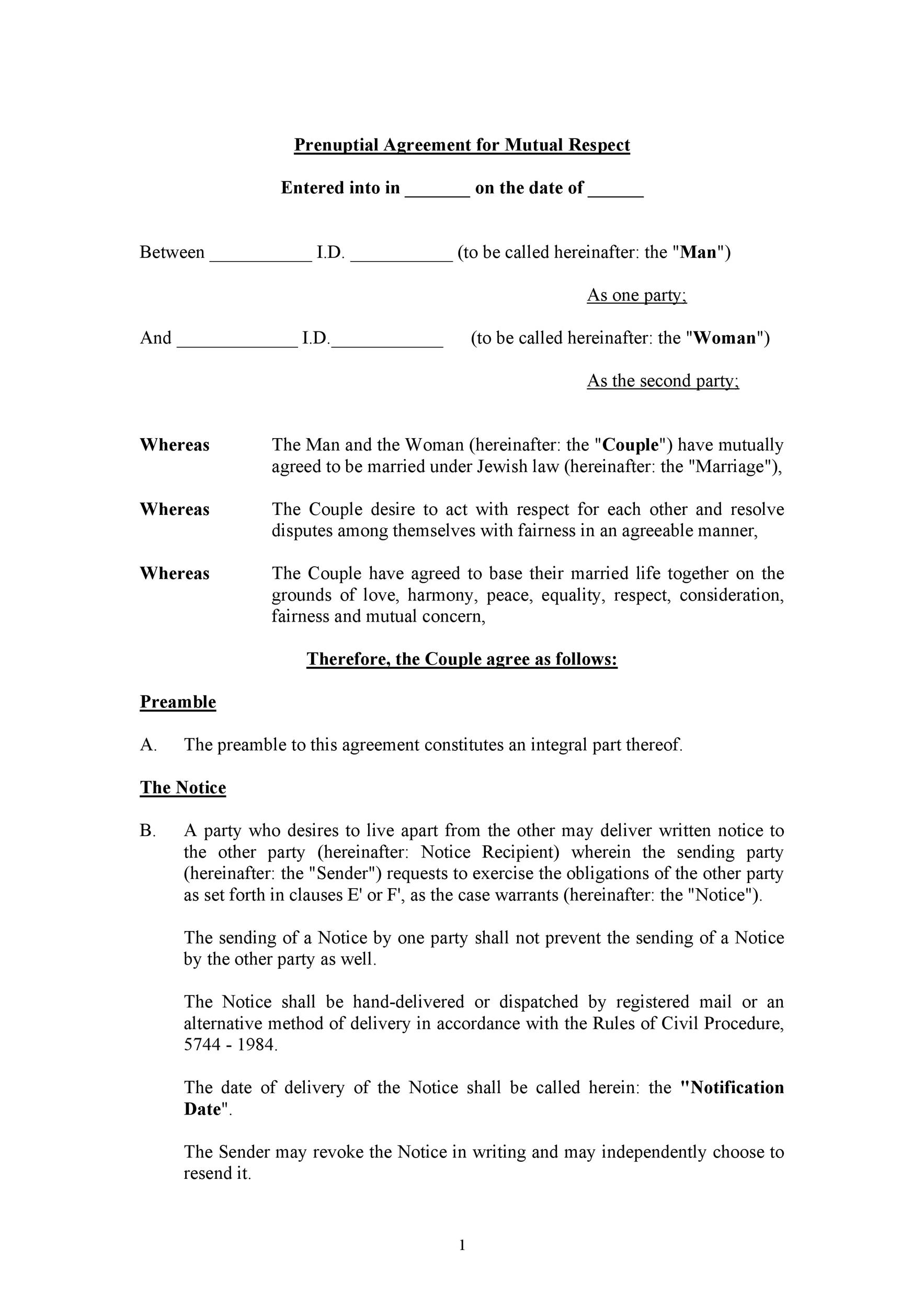 Free Prenuptial Agreement Template 16