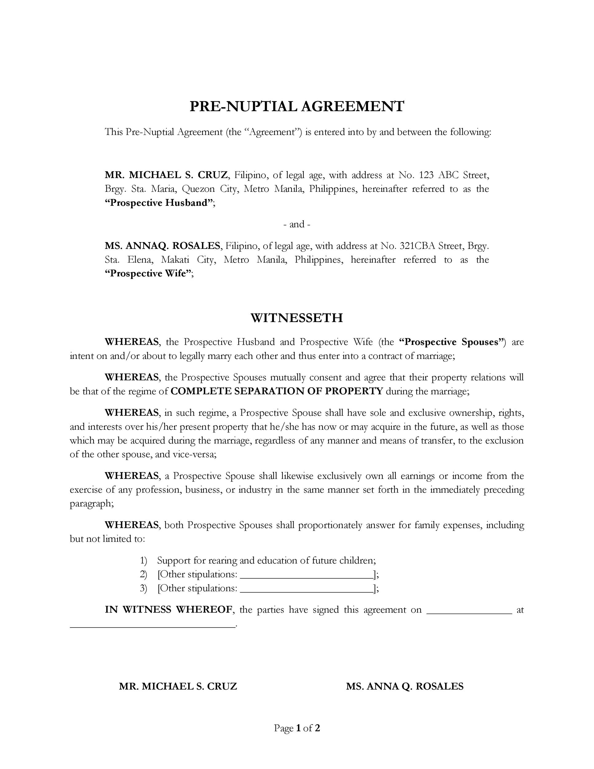 30 prenuptial agreement samples forms template lab for Acting contract template