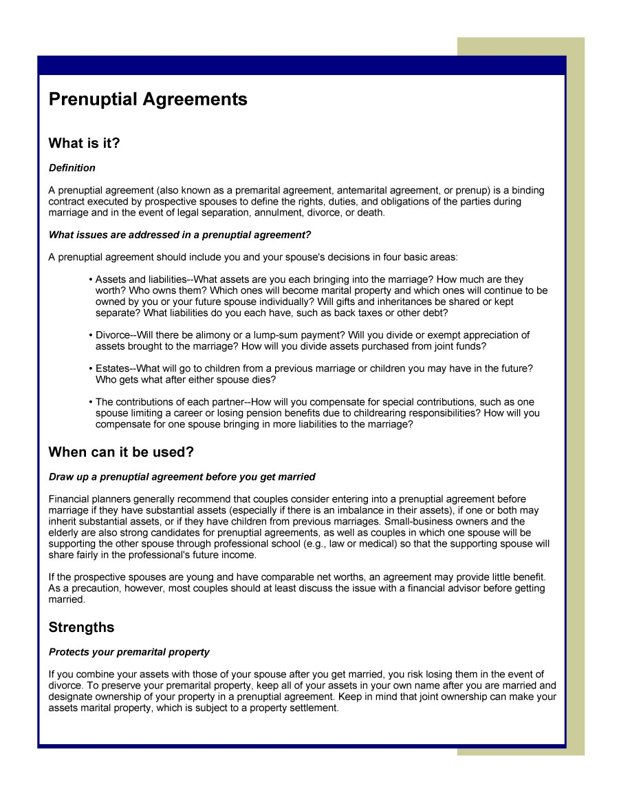 the pre relationship agreement example