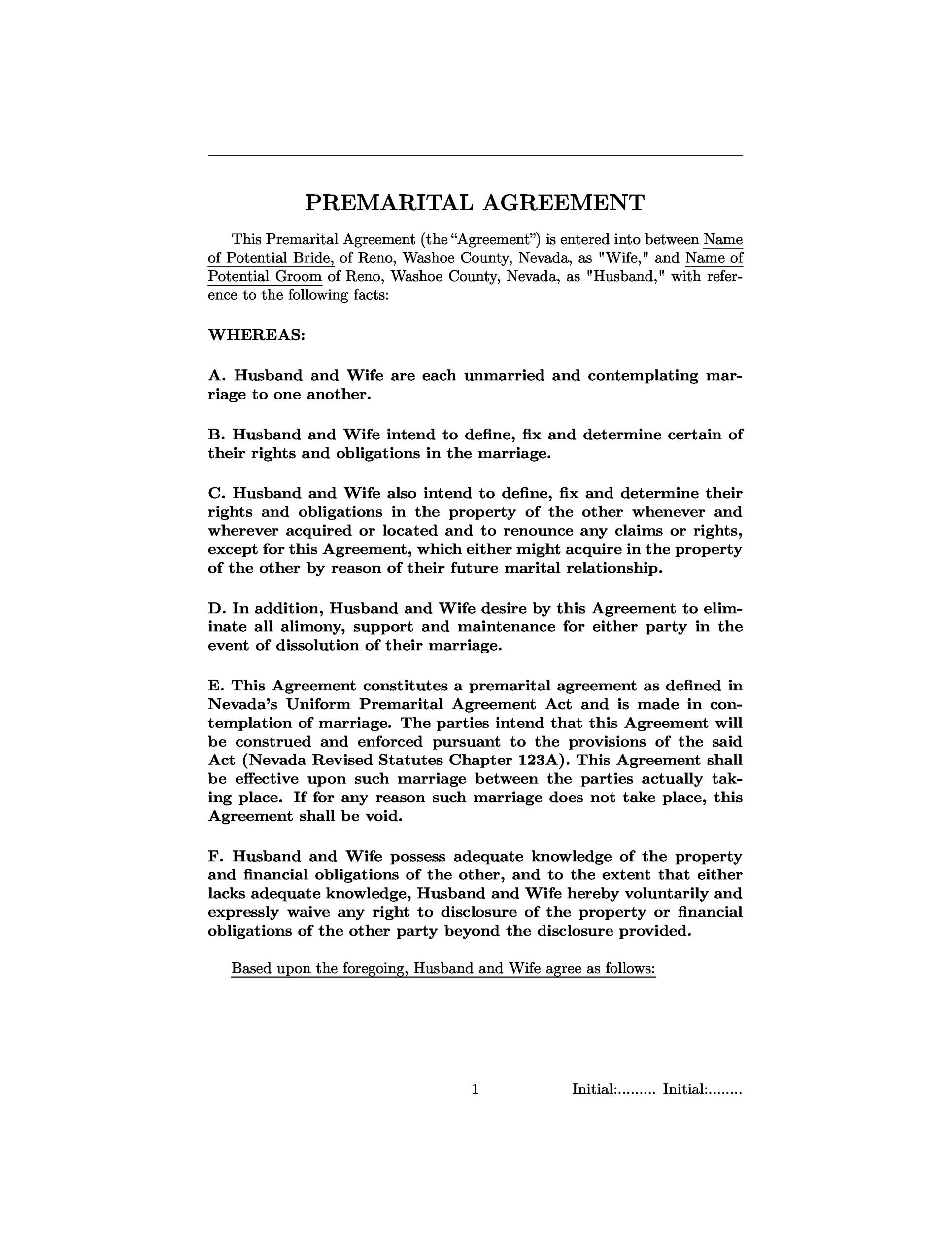 Free Prenuptial Agreement Template 24