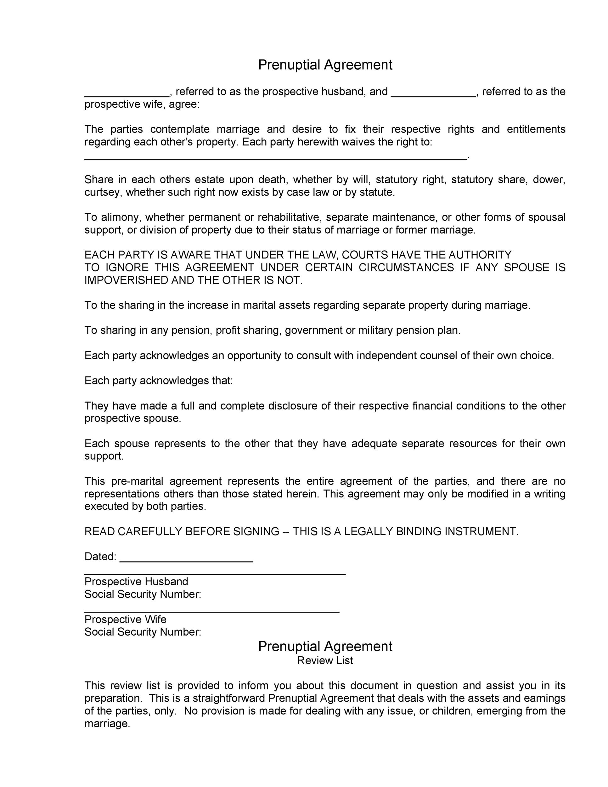 Free Prenuptial Agreement Template 25