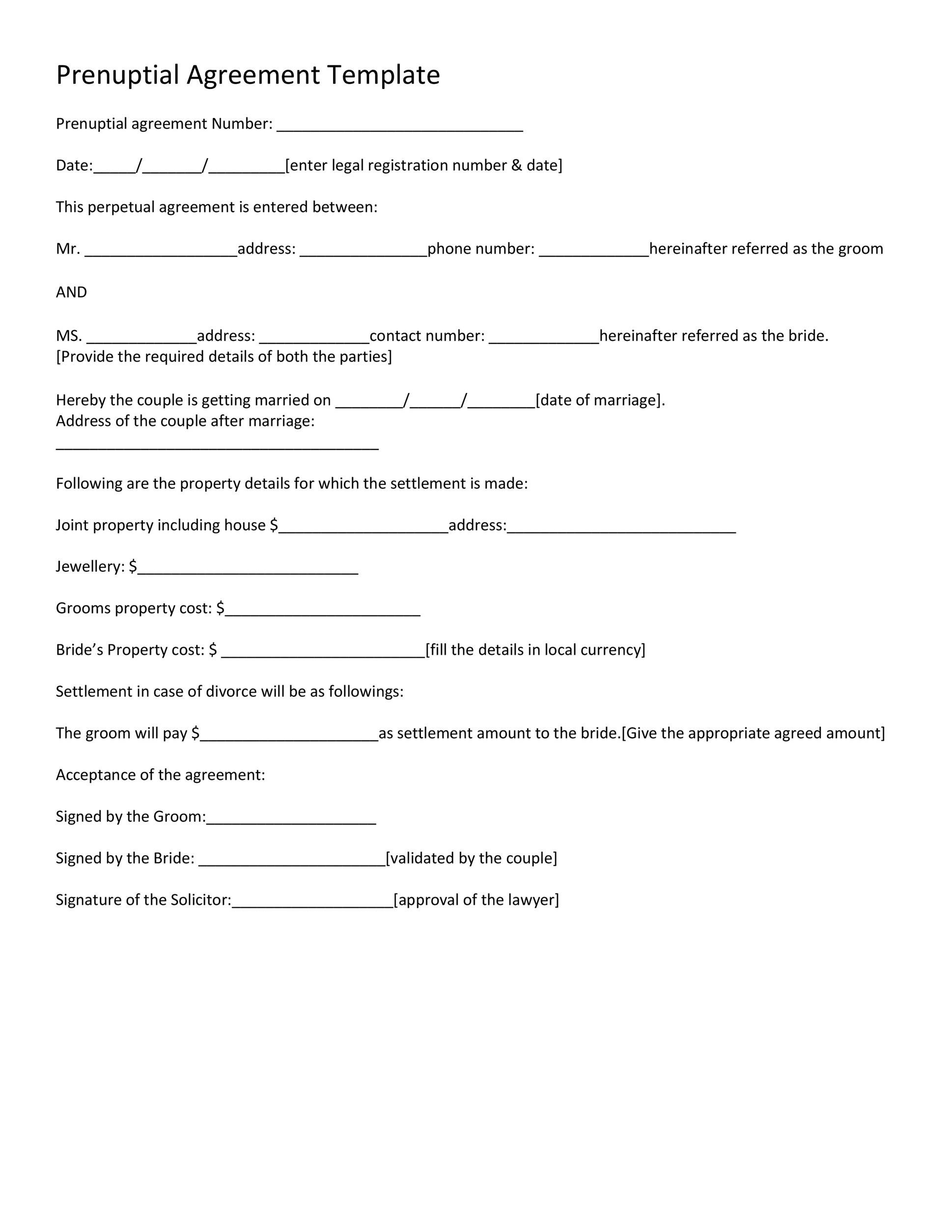 Free Prenuptial Agreement Template 26