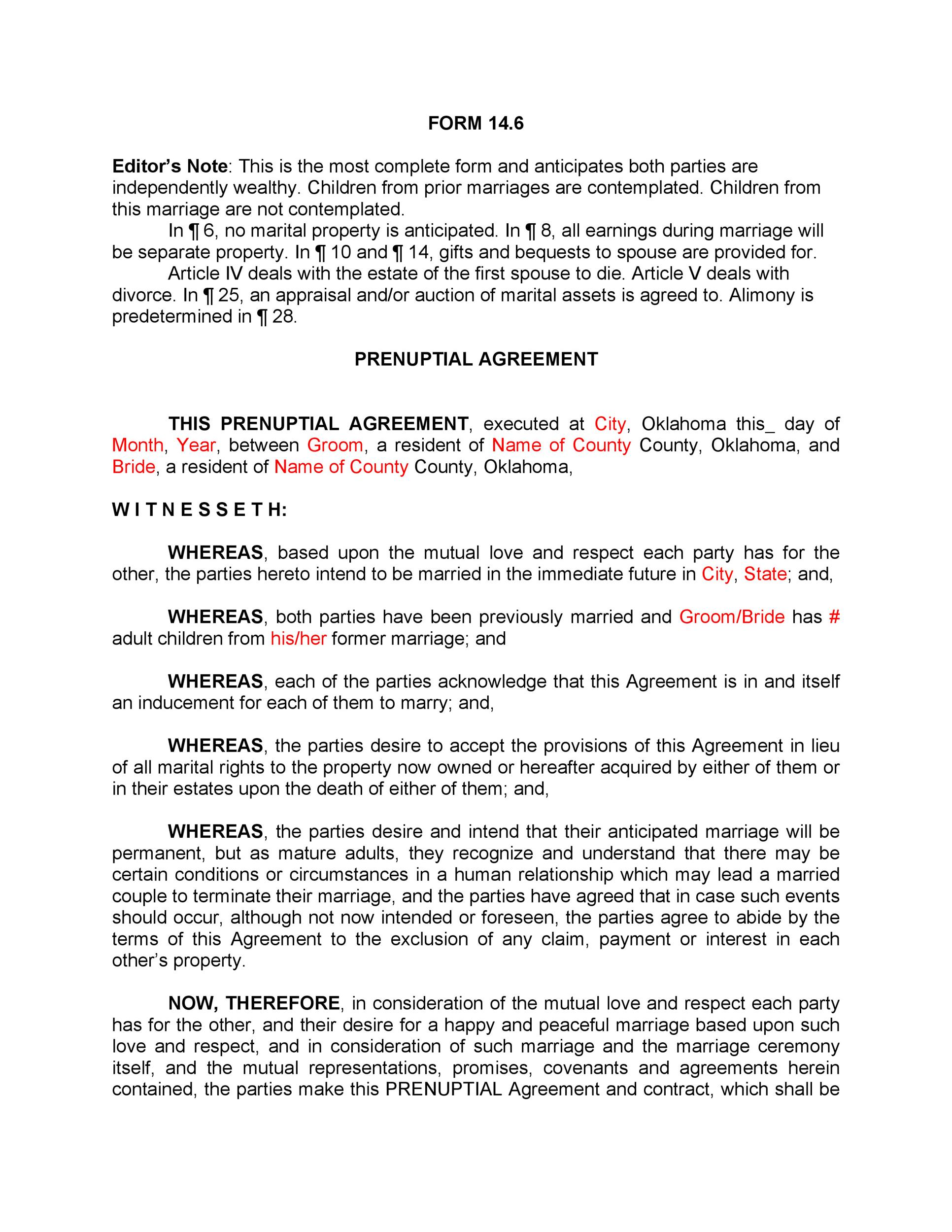Free Prenuptial Agreement Template 29
