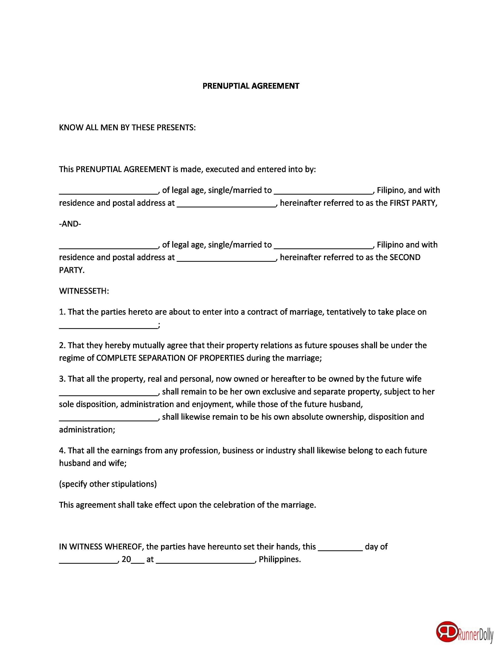 Free Prenuptial Agreement Template 33