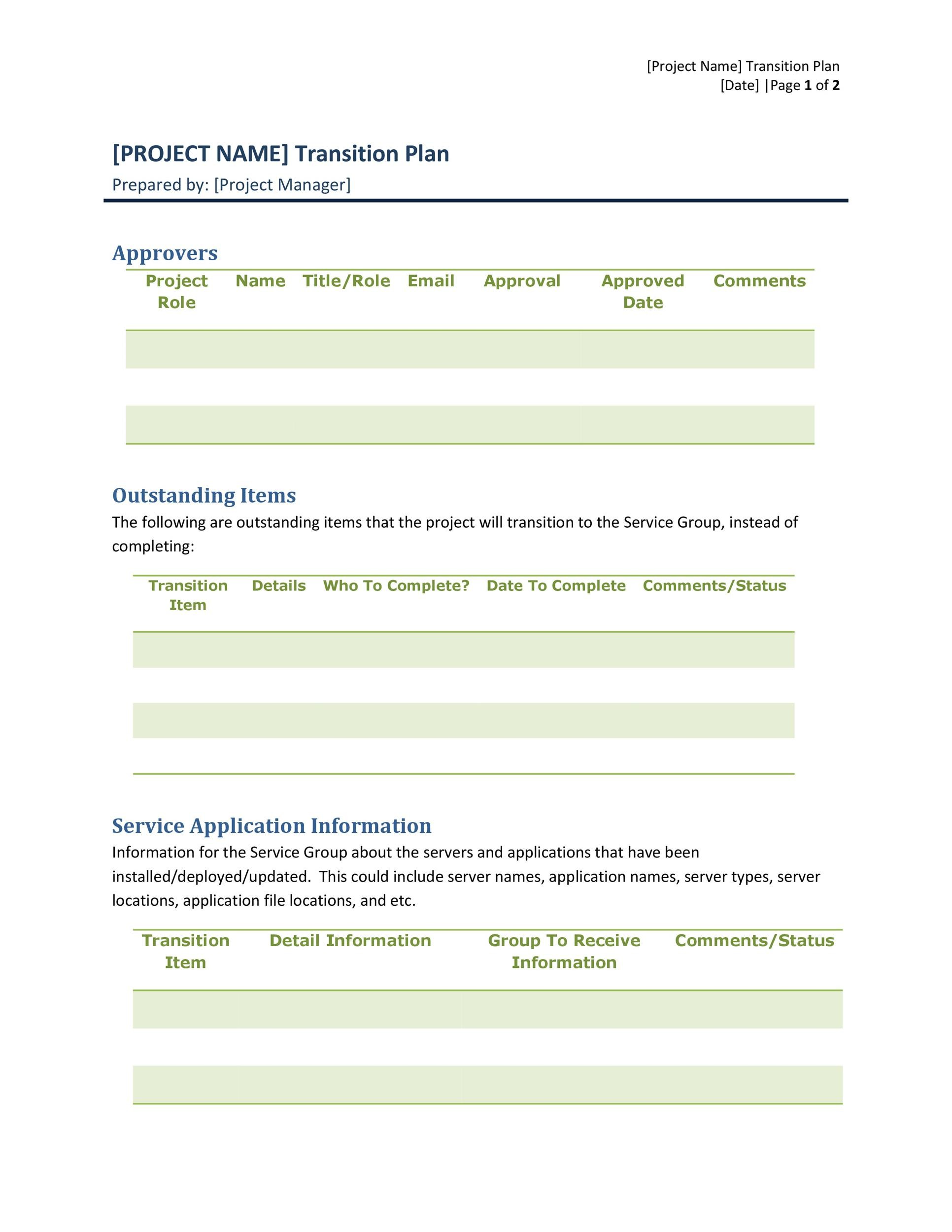 Free Transition Plan Template 01