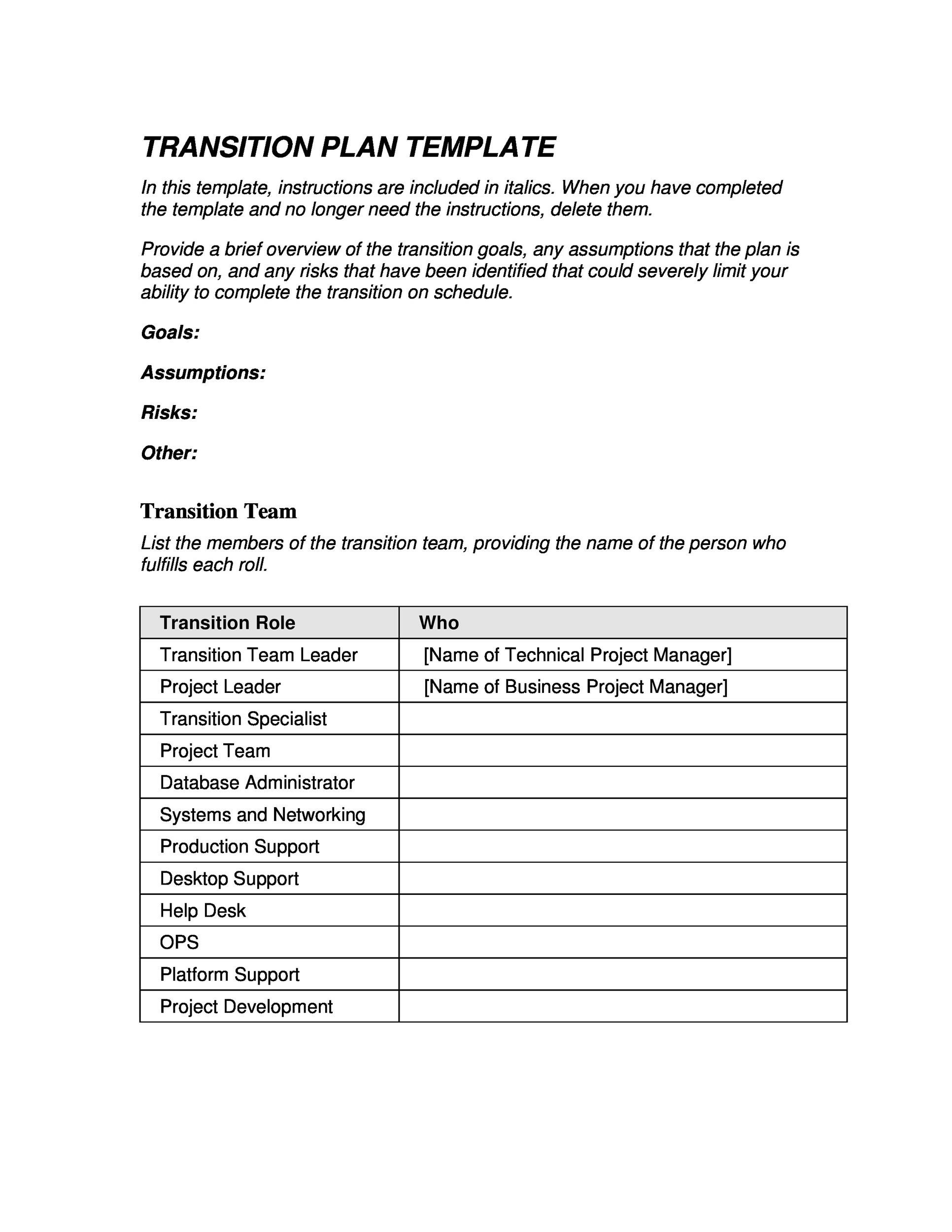 Free Transition Plan Template 05