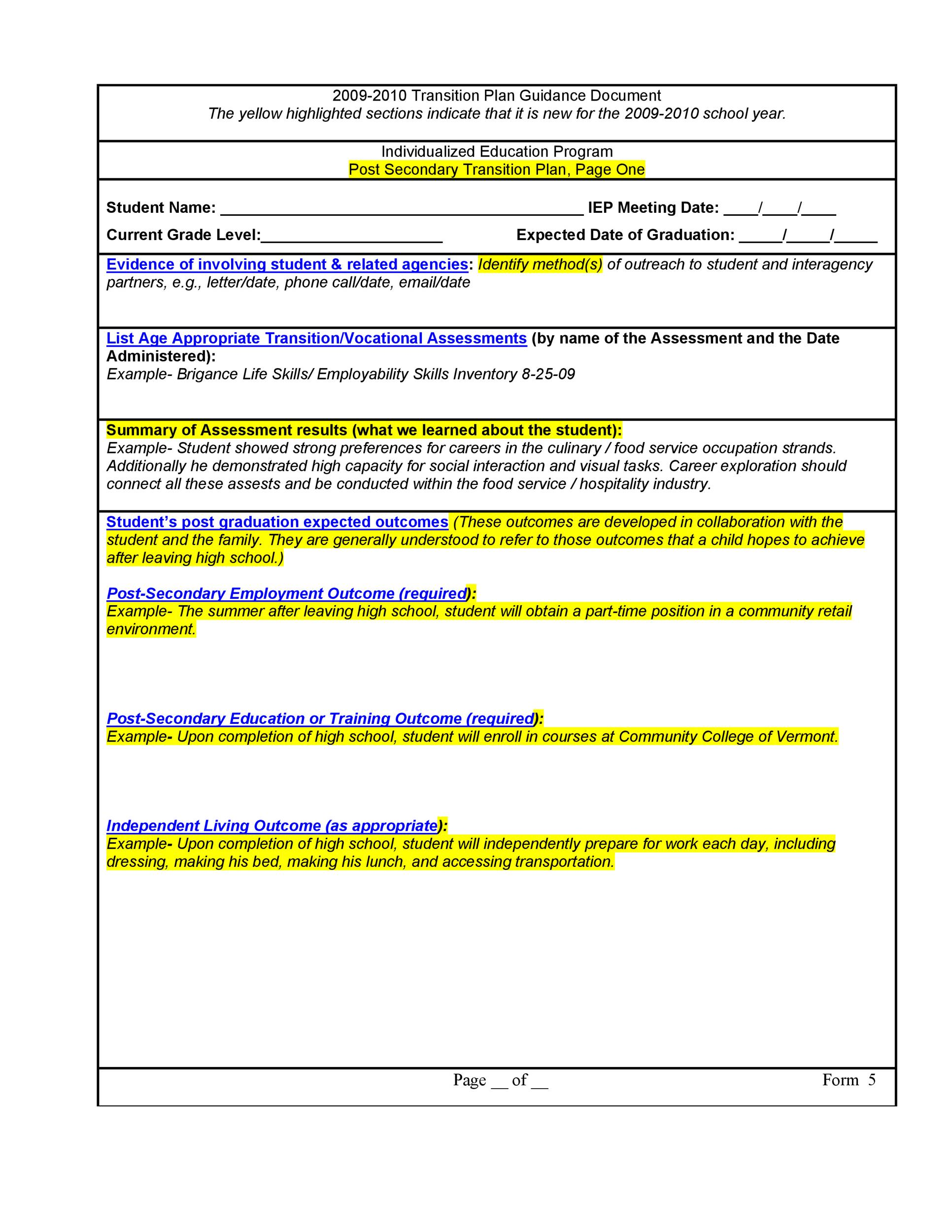 40 transition plan templates career individual template lab transition plan template 08
