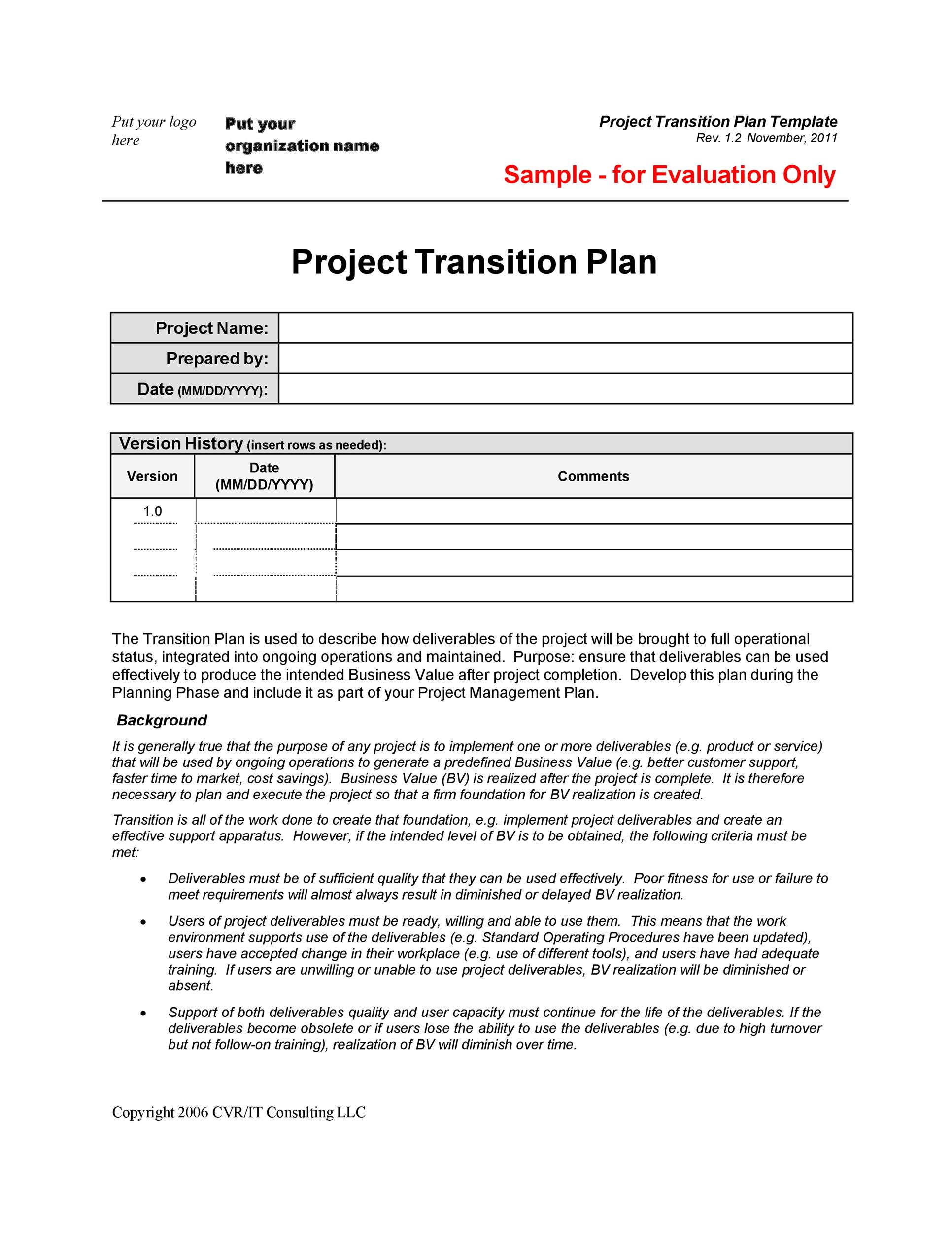 Free Transition Plan Template 22