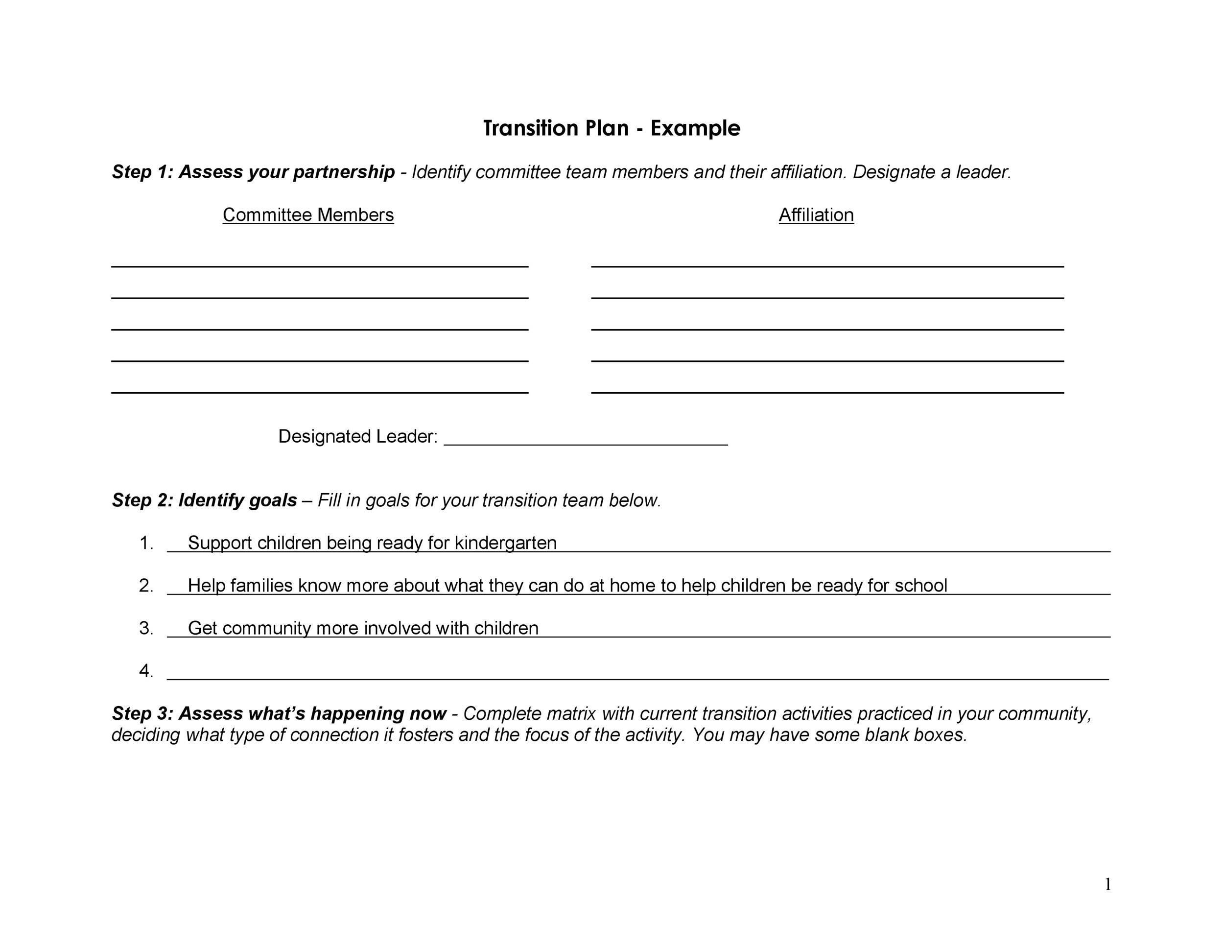 Free Transition Plan Template 26