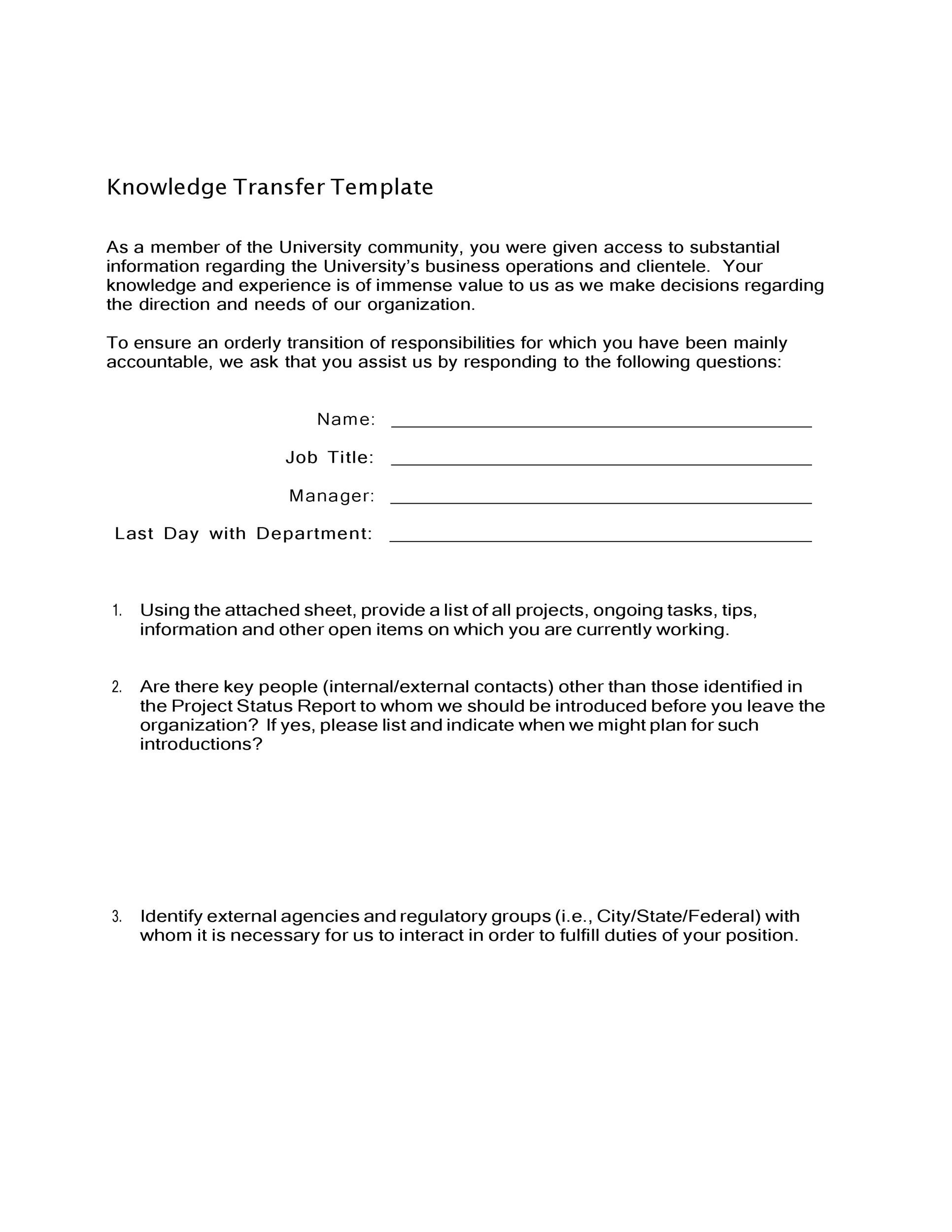 Free Transition Plan Template 29