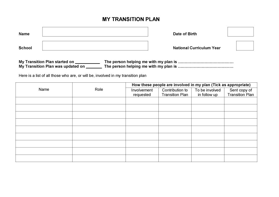 Free Transition Plan Template 33
