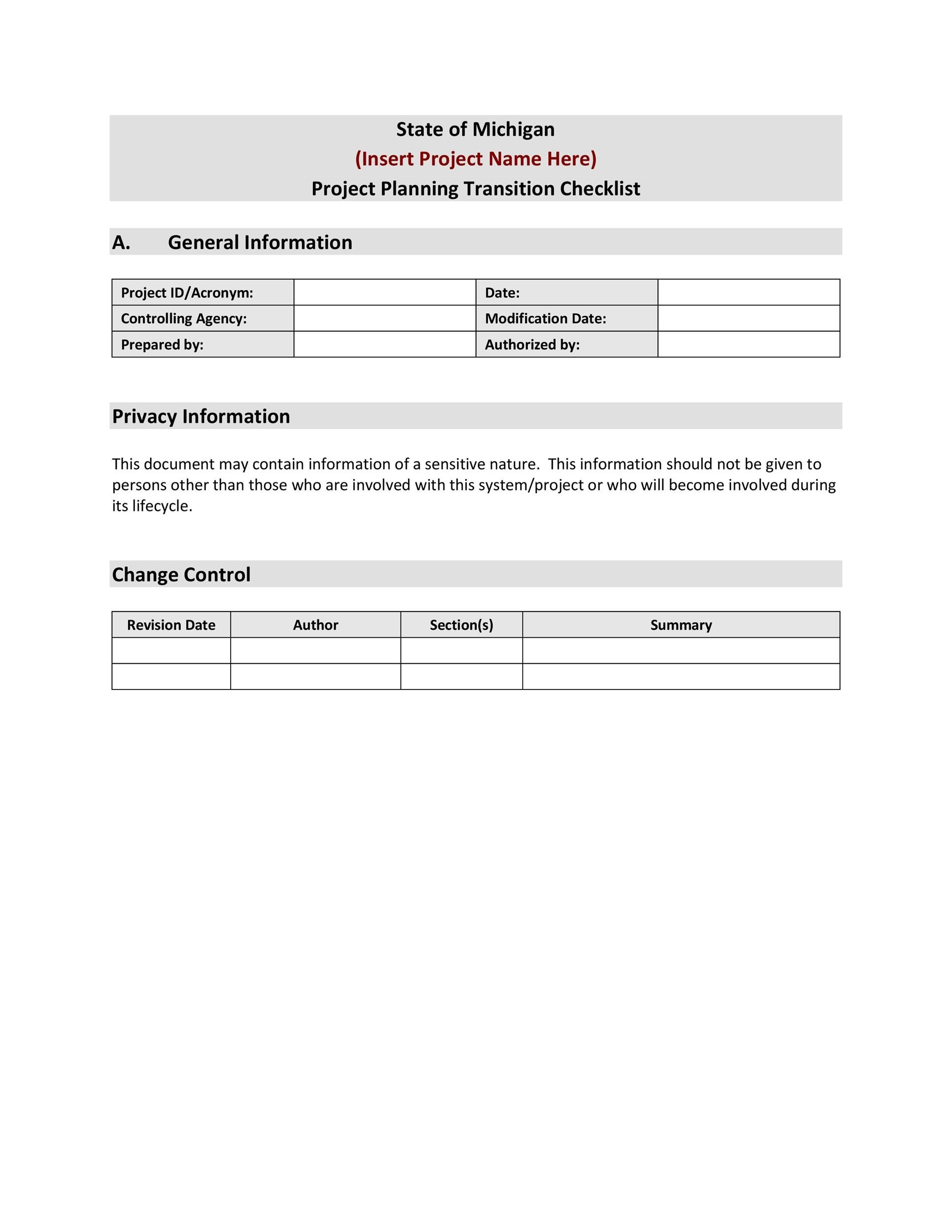 Free Transition Plan Template 36