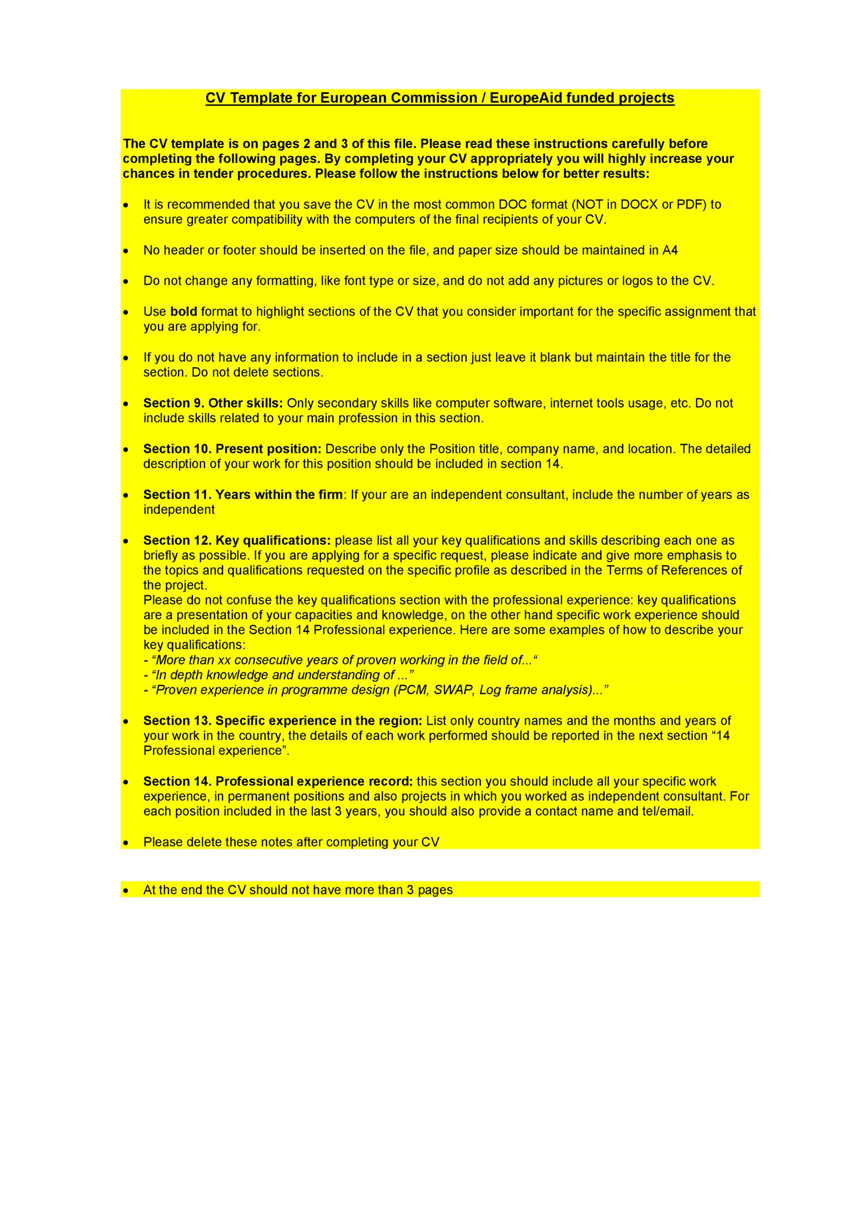 Free curriculum vitae template 03