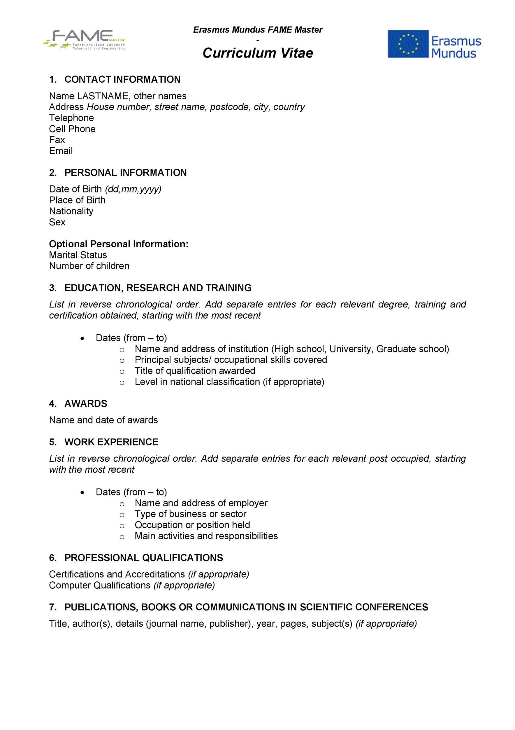 Free curriculum vitae template 07