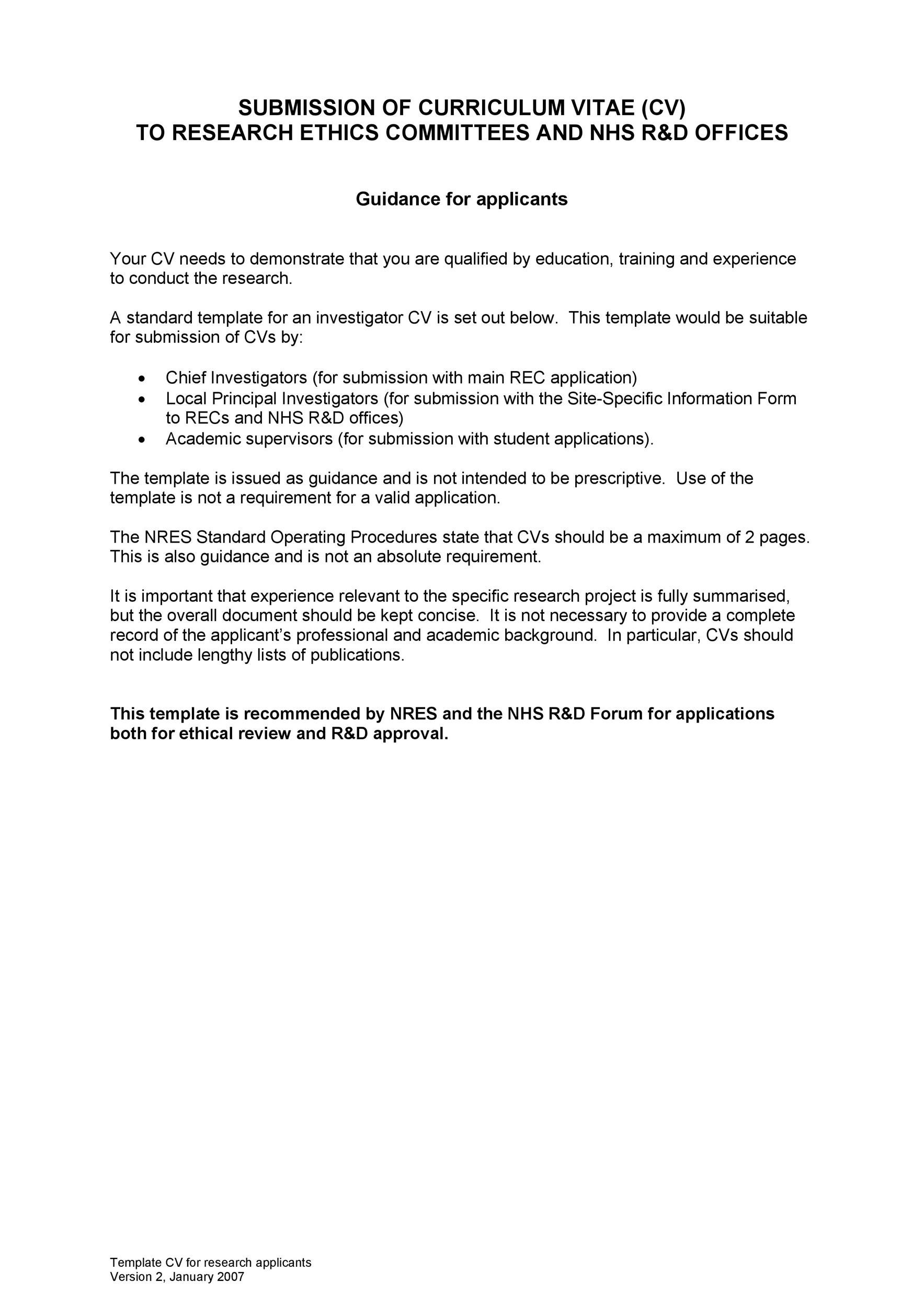 Free curriculum vitae template 08