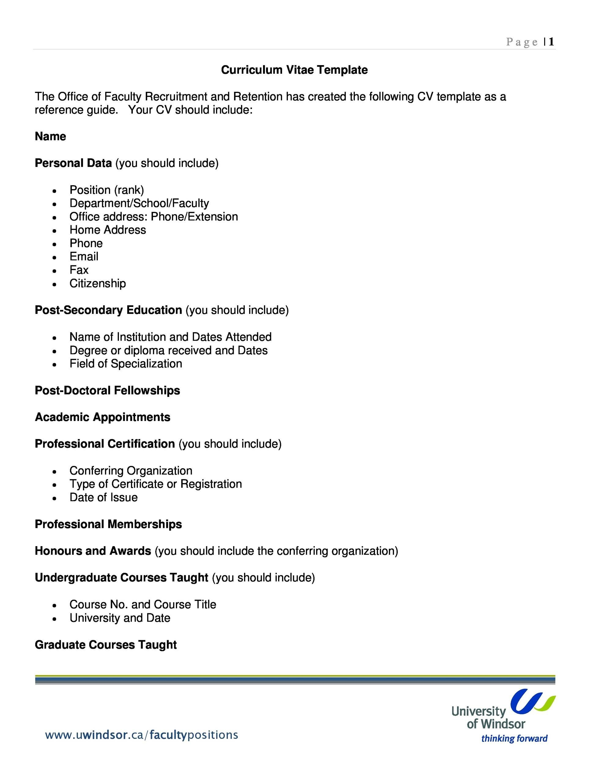 Free curriculum vitae template 14