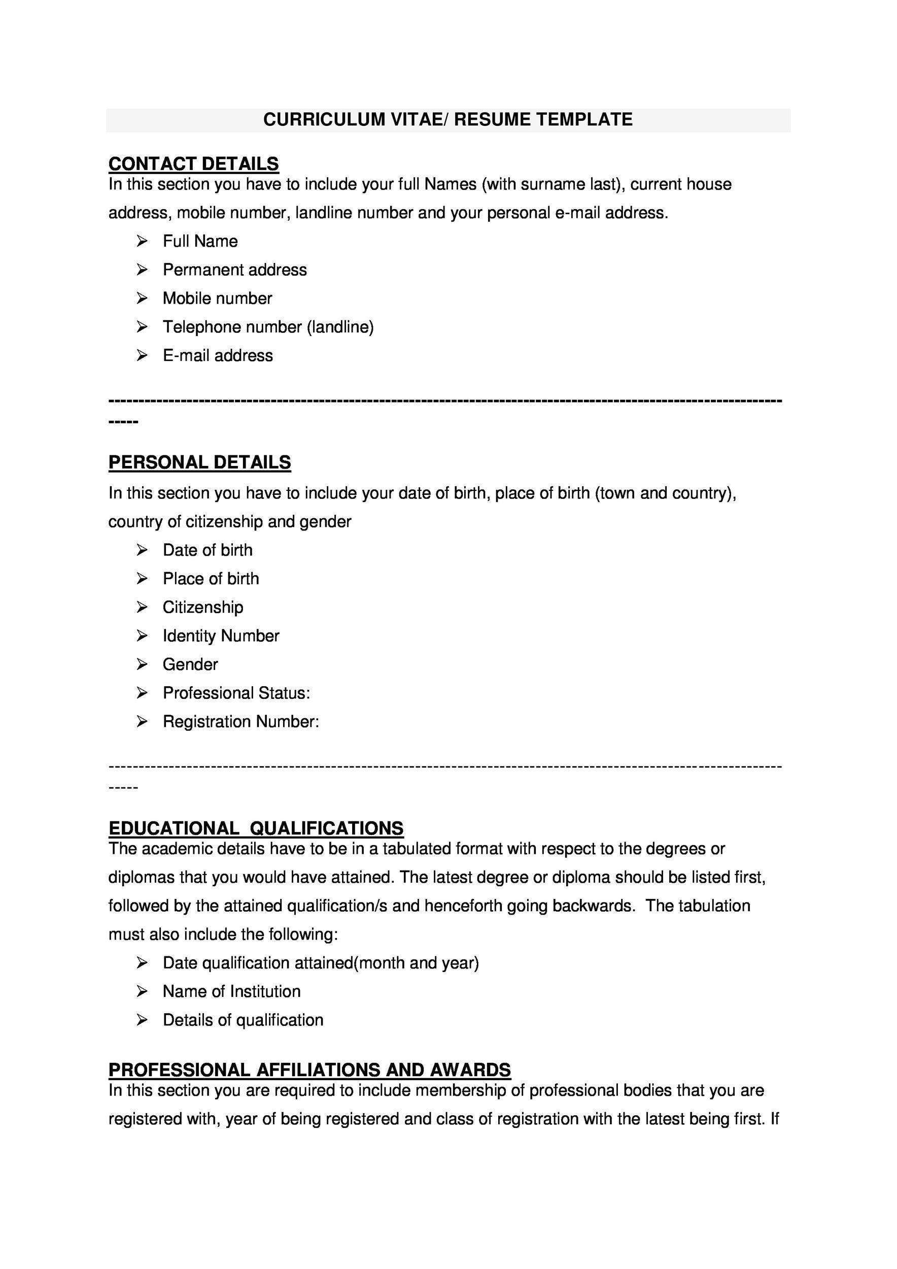 Free curriculum vitae template 15