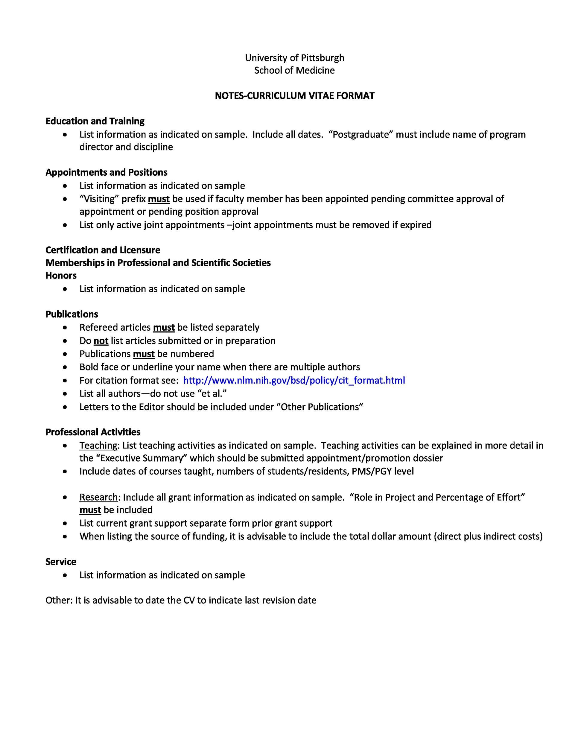 Free curriculum vitae template 16