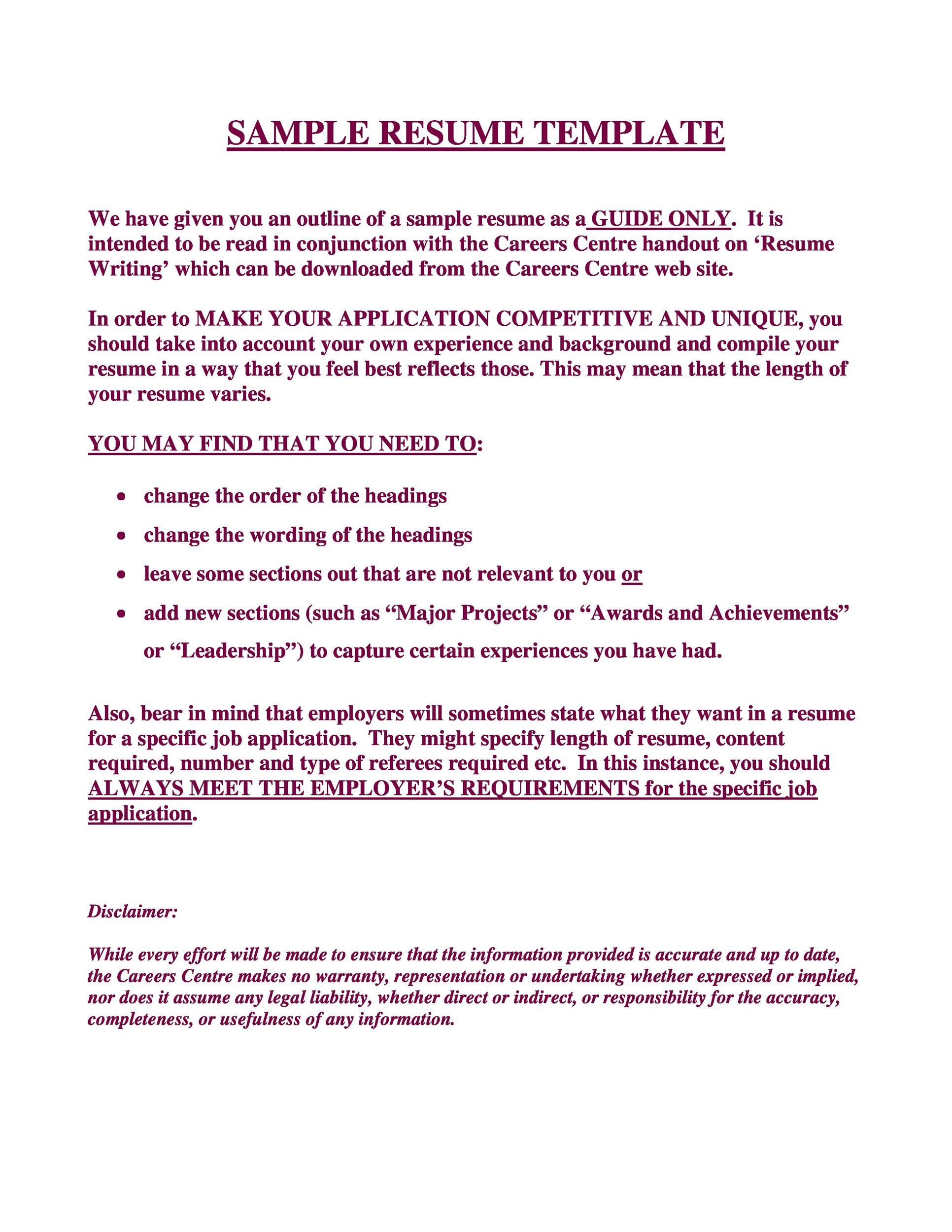 Free curriculum vitae template 18
