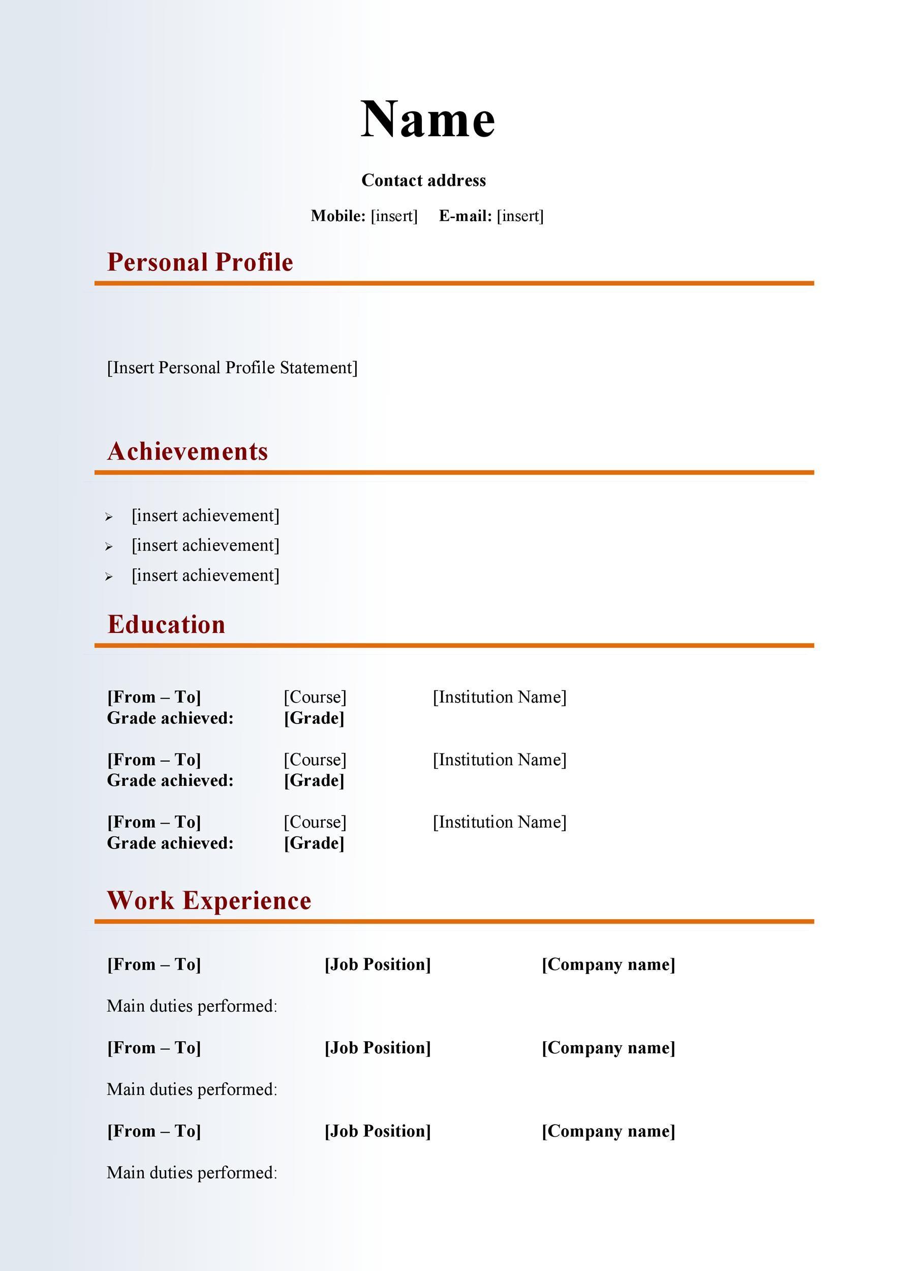 Free curriculum vitae template 21