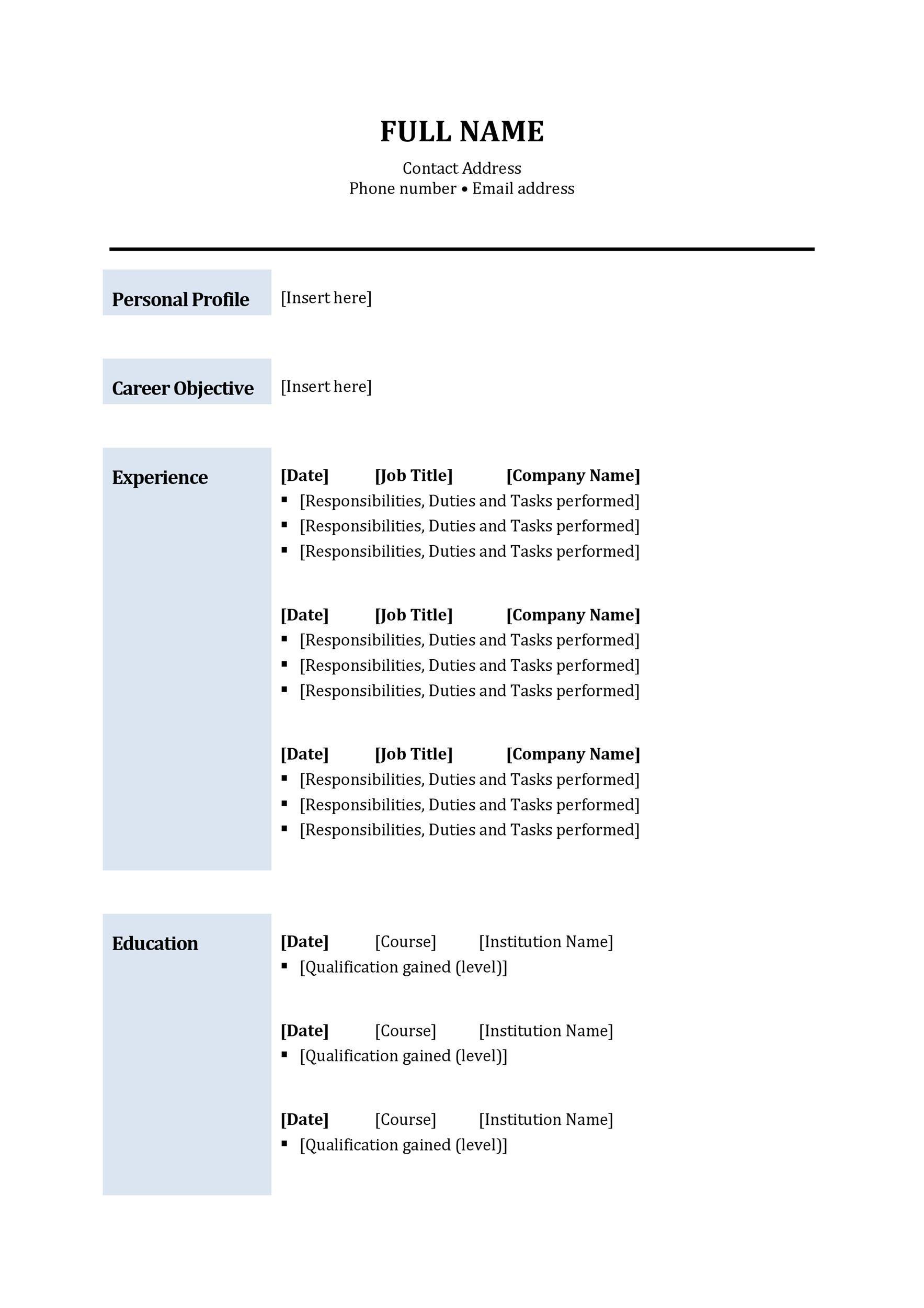 Free curriculum vitae template 22
