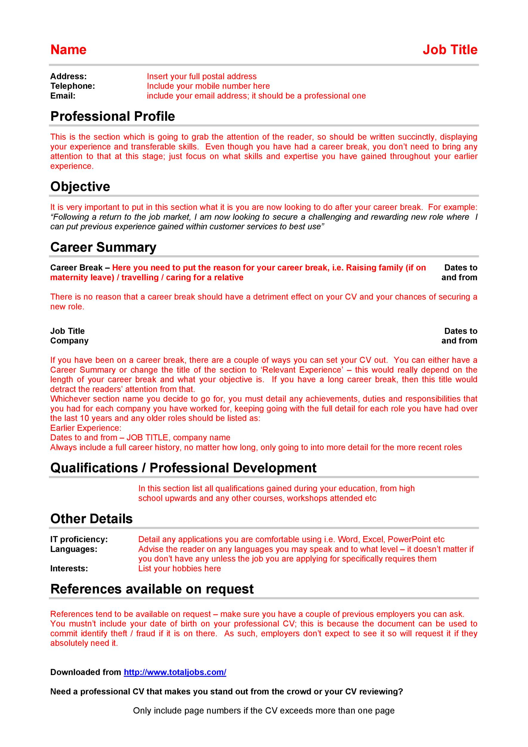 Free curriculum vitae template 25