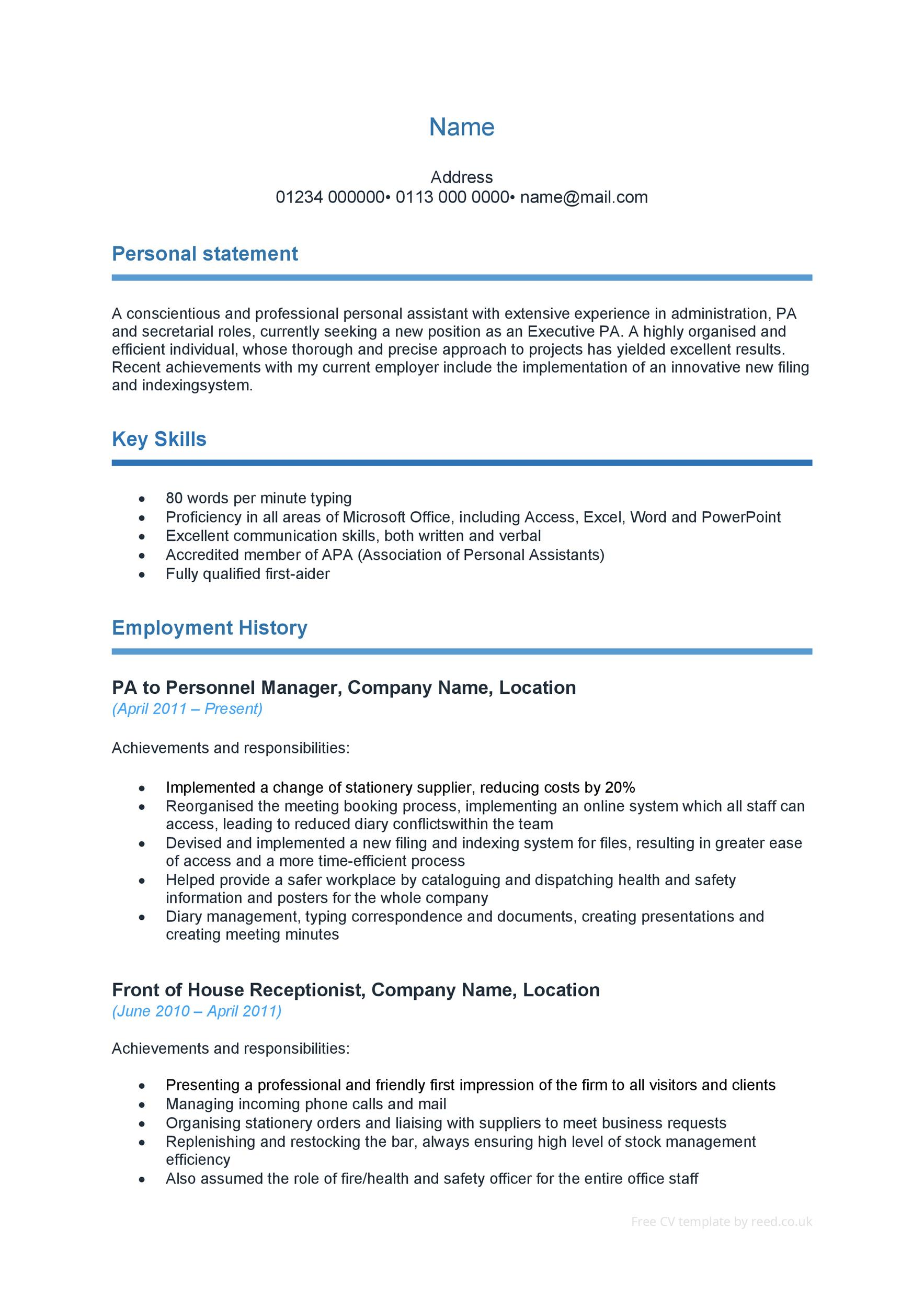 48 Great Curriculum Vitae Templates & Examples - Template Lab