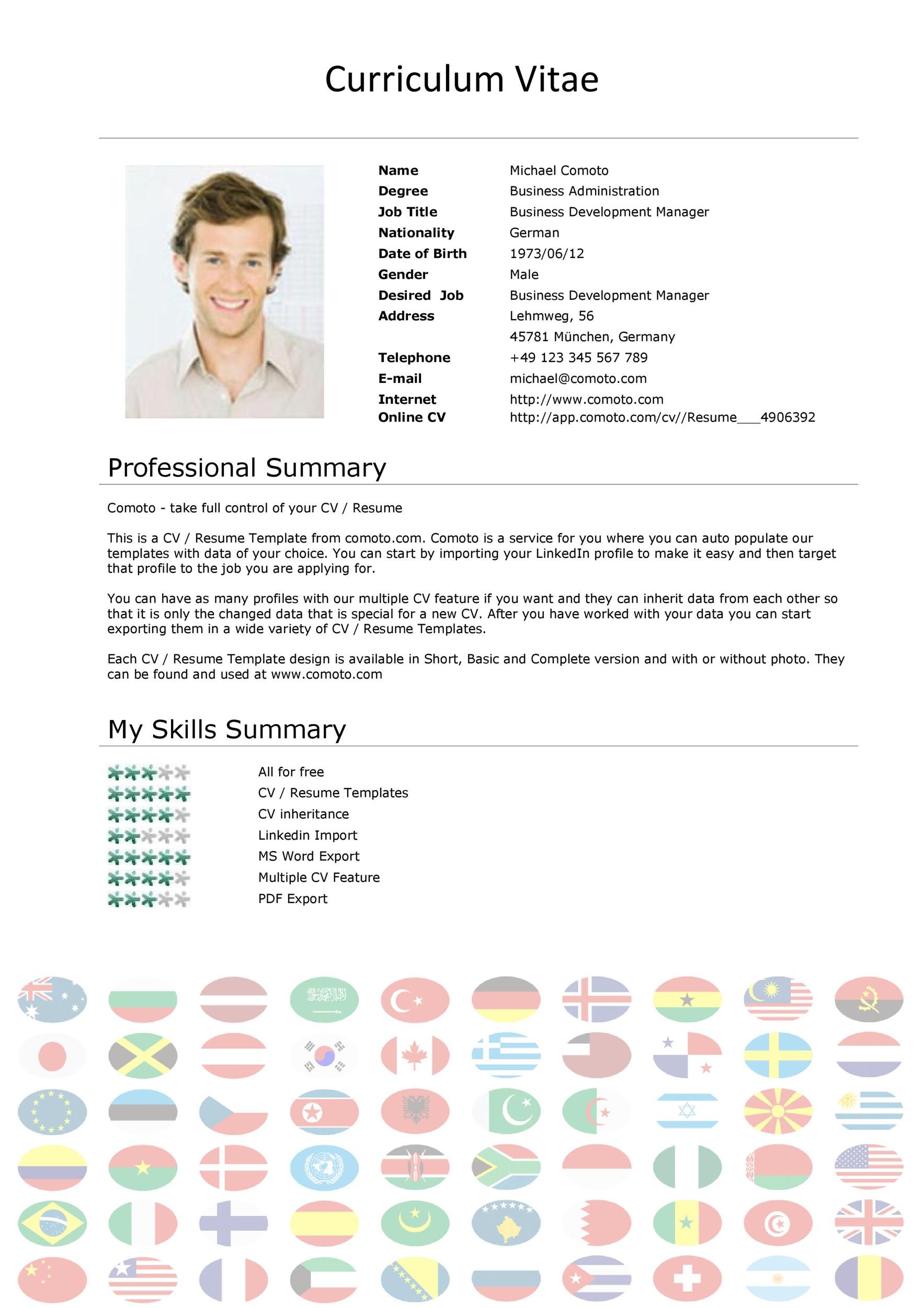 sample of a curriculum vitae for employment