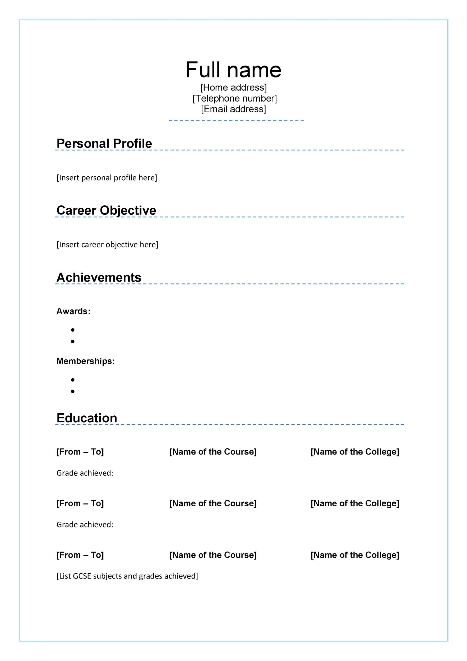 Curriculum Vitae Template Word Interesting 48 Great Curriculum Vitae