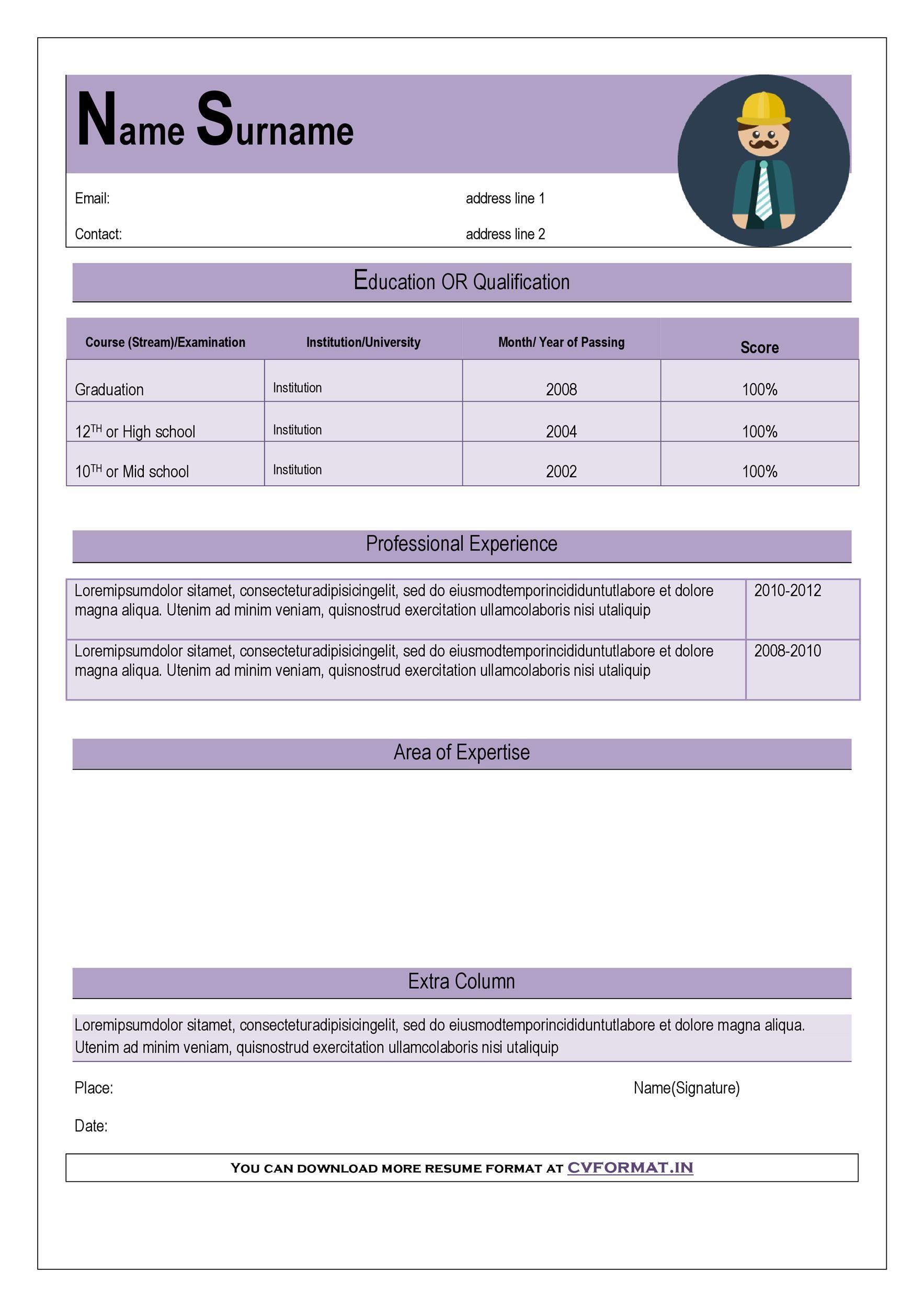 Free curriculum vitae template 47
