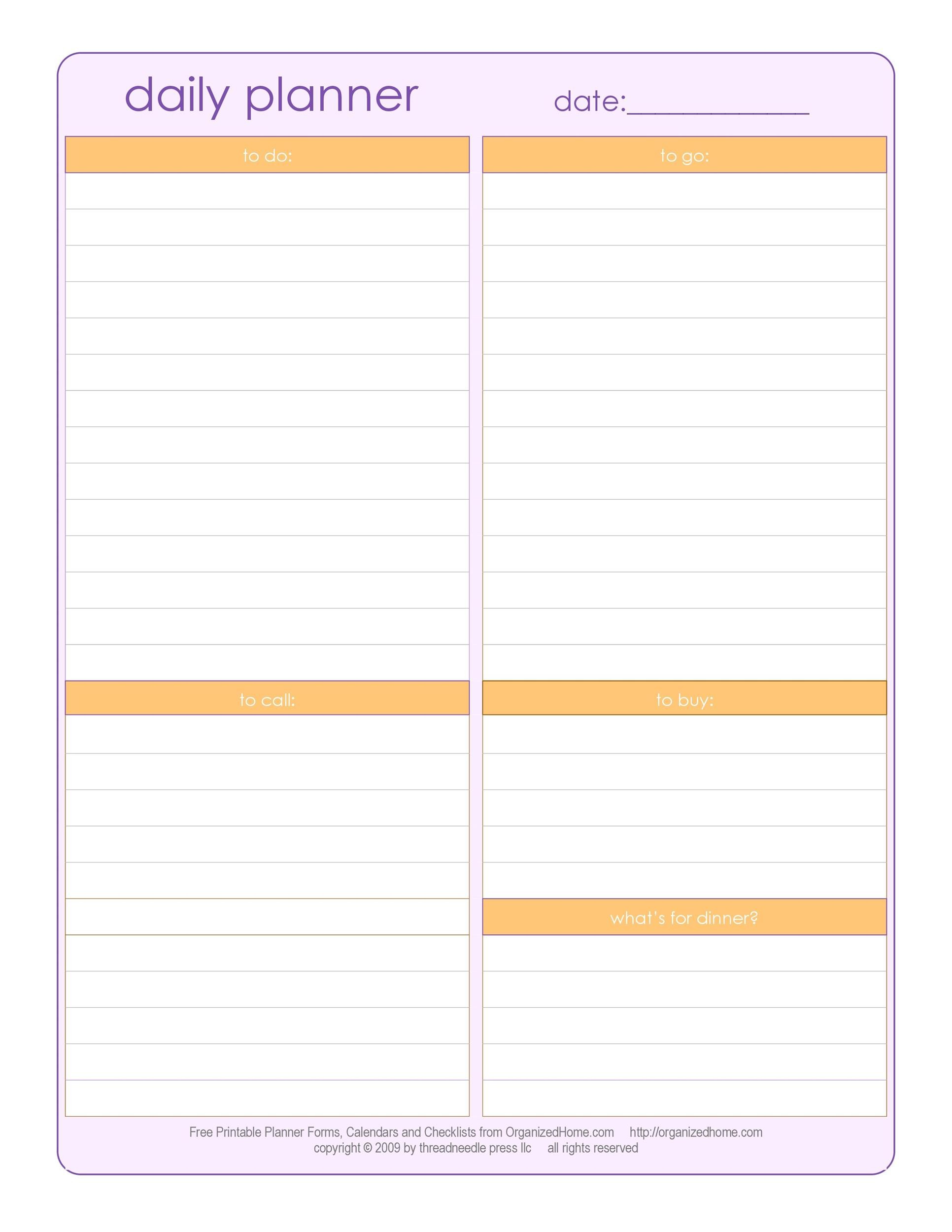 High Quality Printable Daily Planner Templates