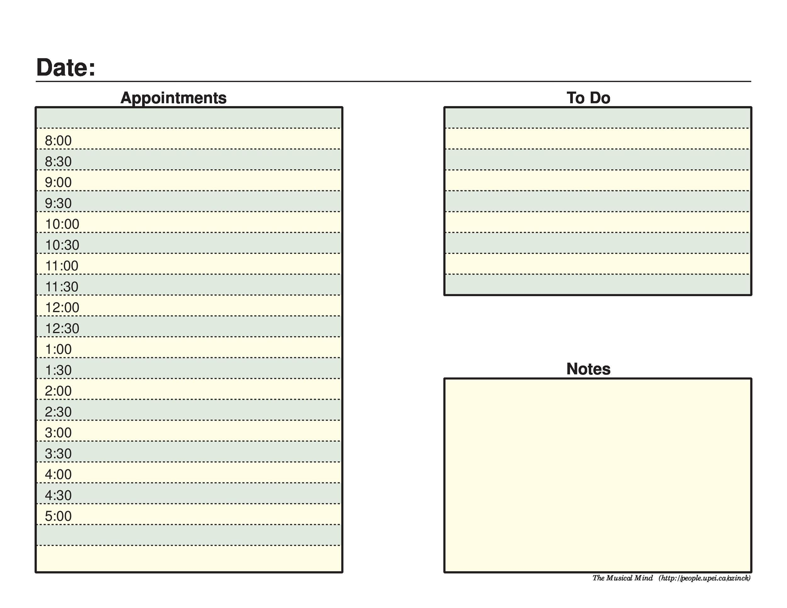 Printable Daily Planner Templates Free  Template Lab