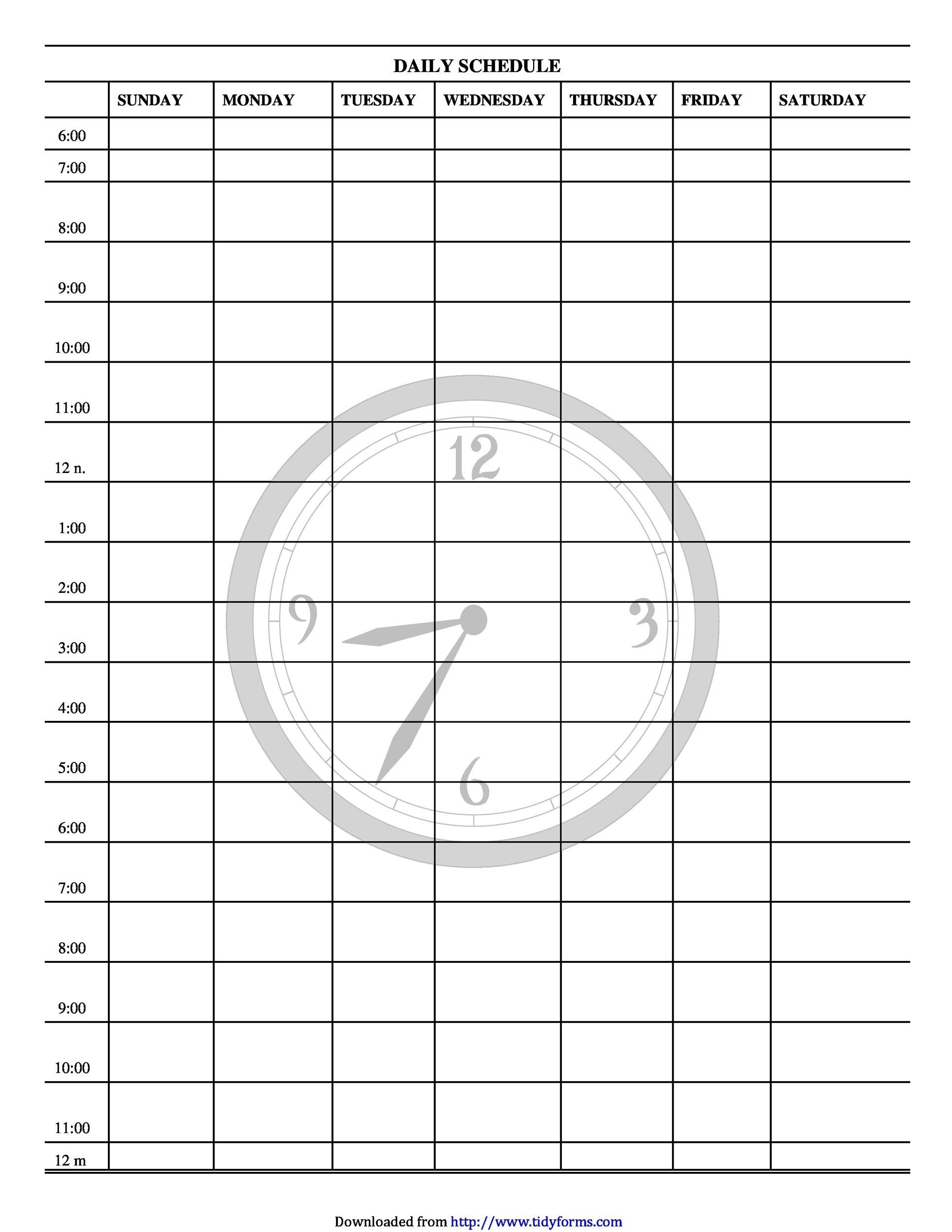 photo relating to Free Printable Weekly Schedule called 40+ Printable Day by day Planner Templates (Totally free) ᐅ Template Lab