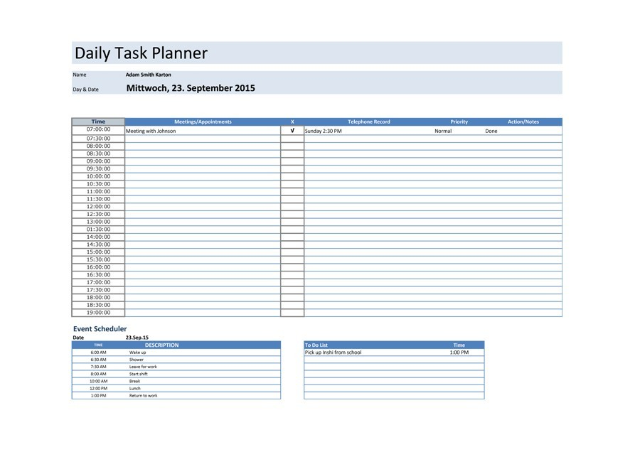 Free daily planner template 19