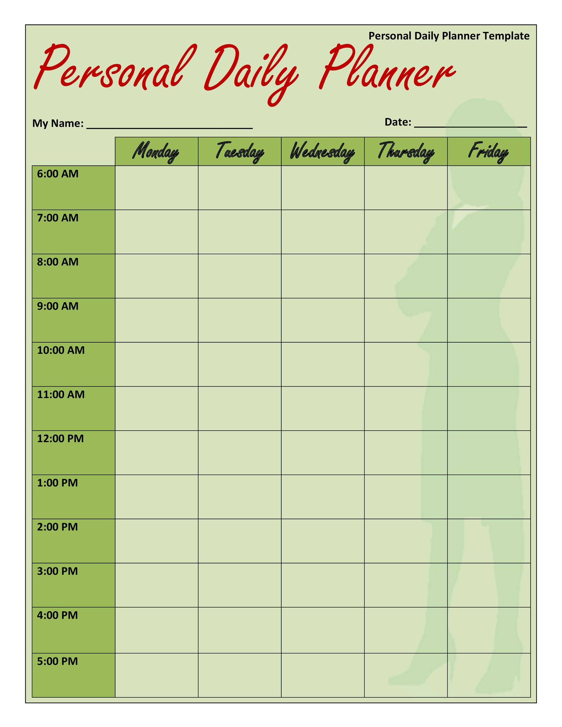 Free daily planner template 20