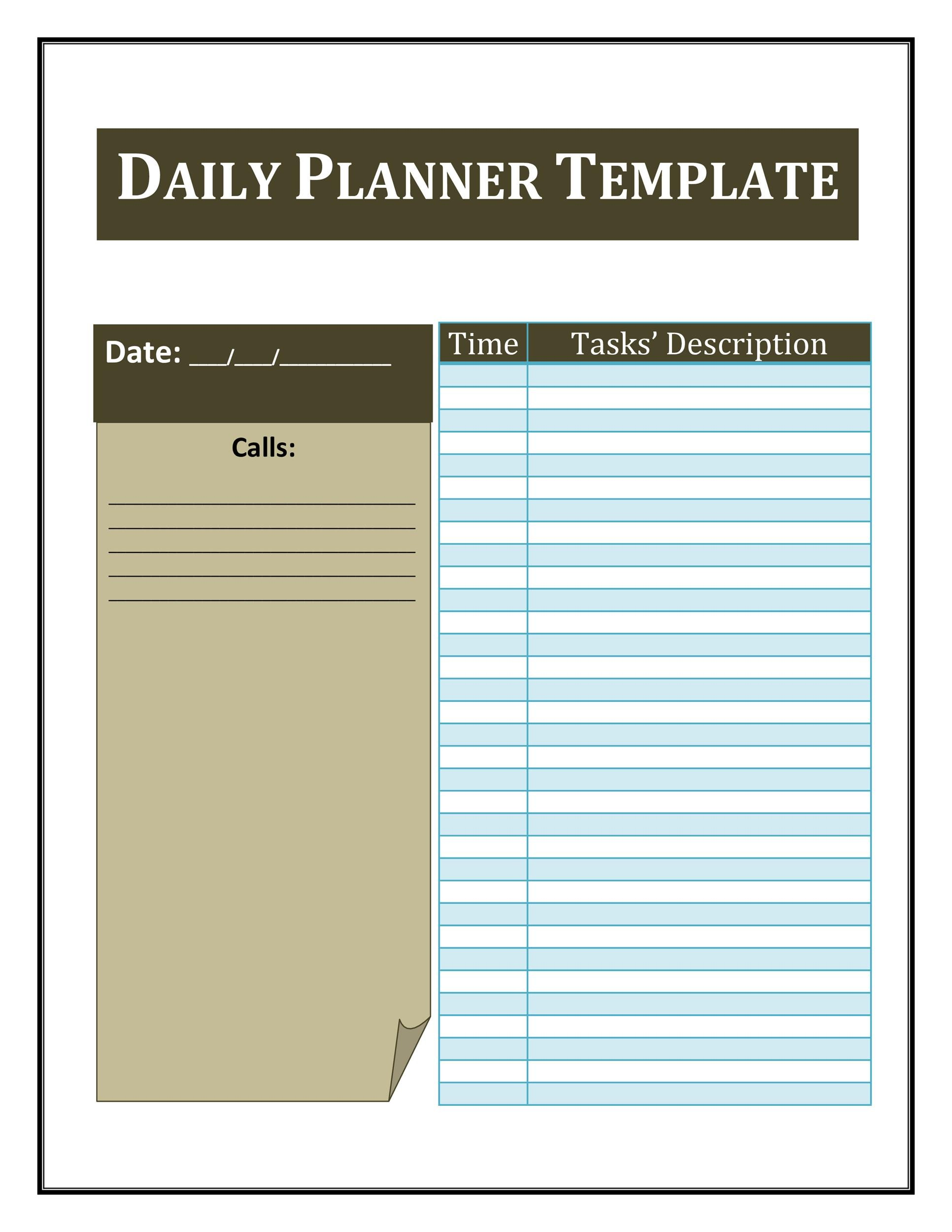 Printable Daily Planner Template 22  Day Planner Template Word