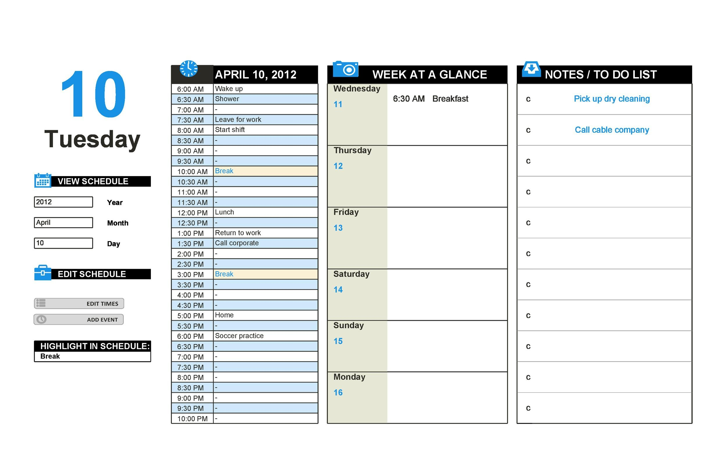 Sample Daily Planner