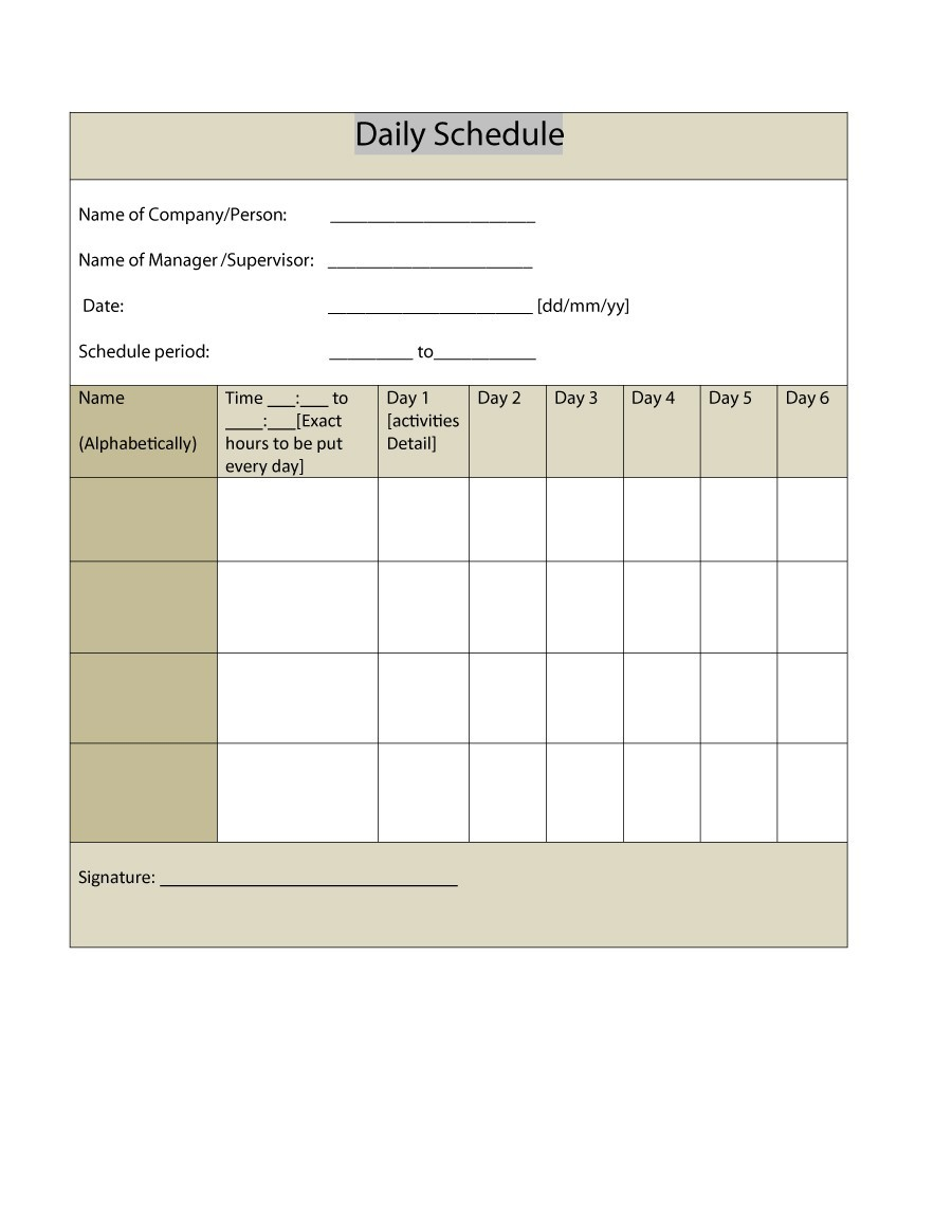 Free daily planner template 25