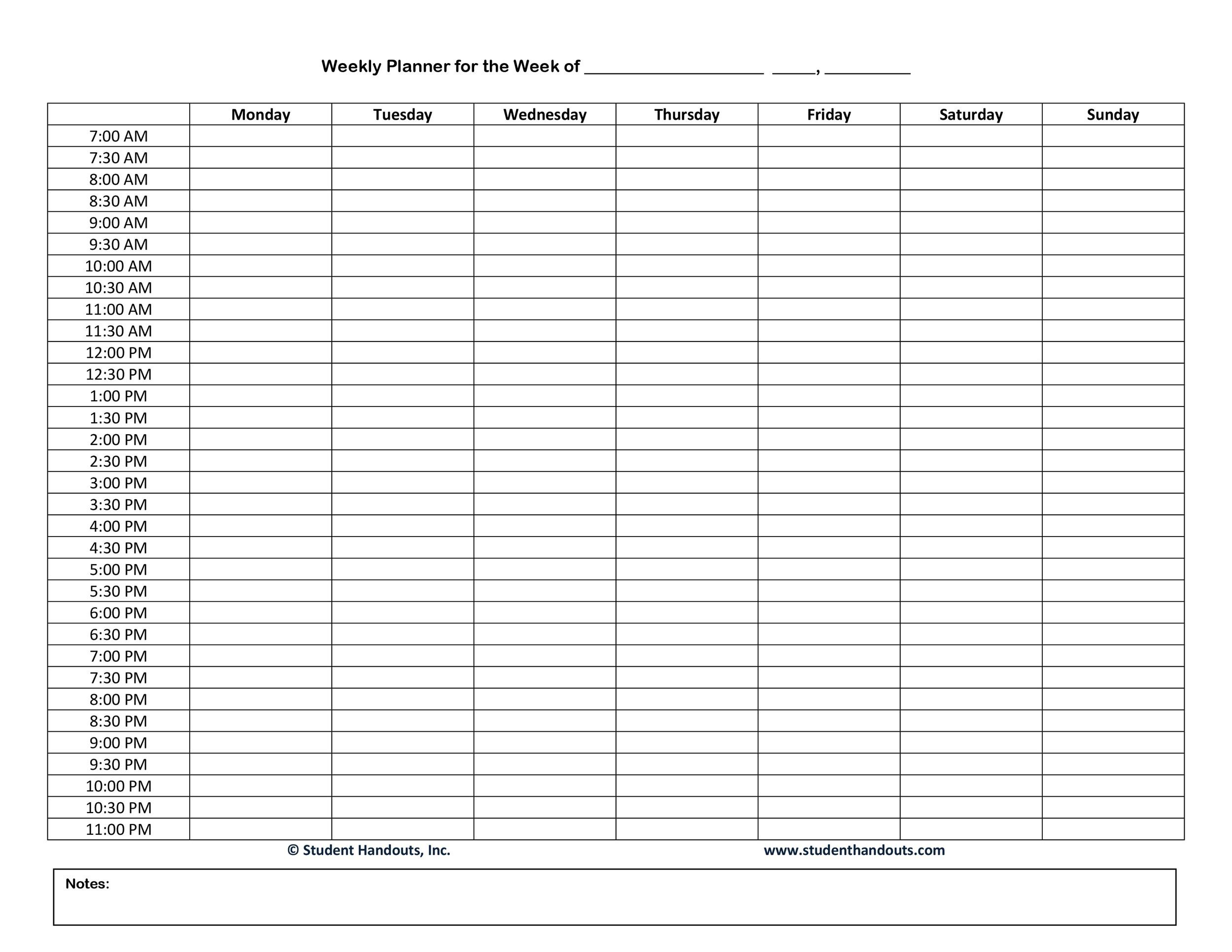 blank daily schedule template