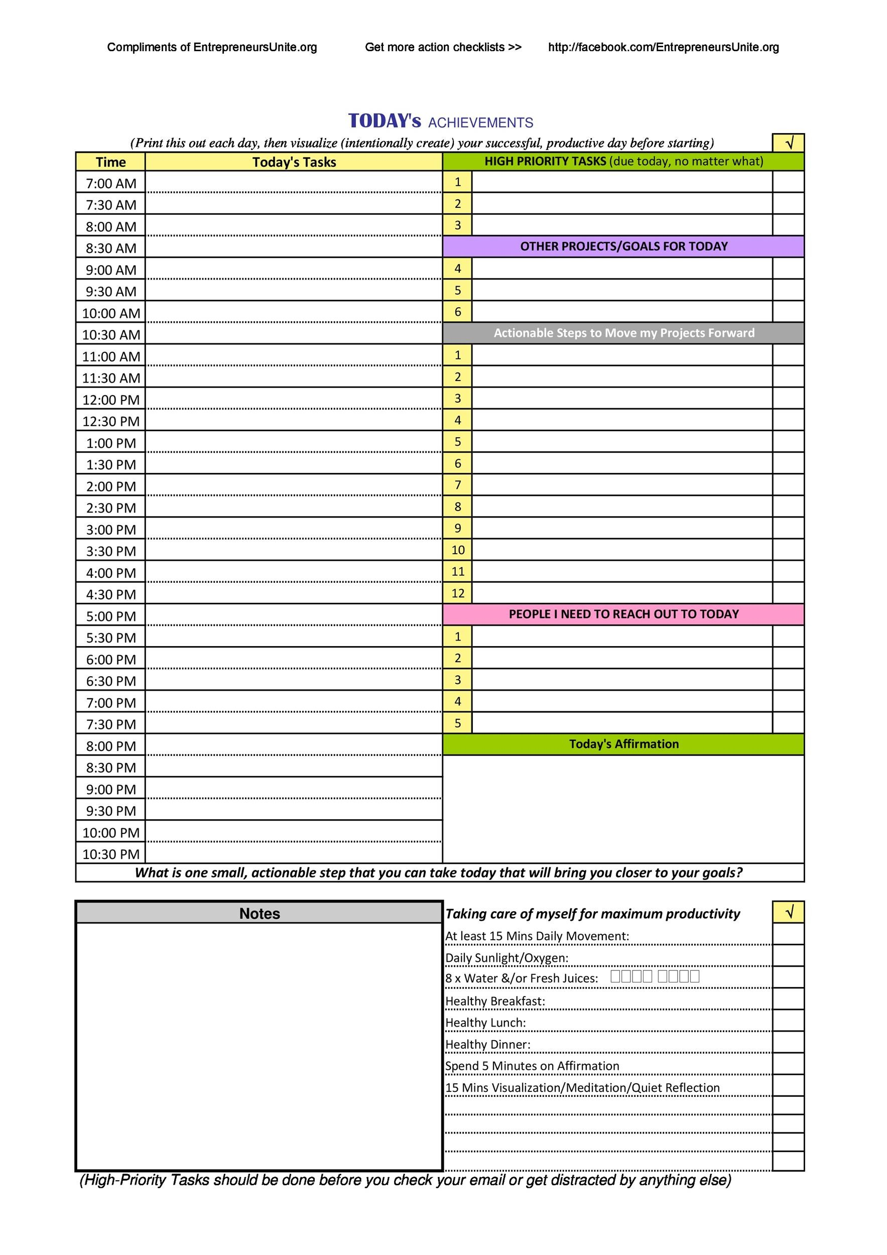 47 printable daily planner templates  free in word  excel  pdf