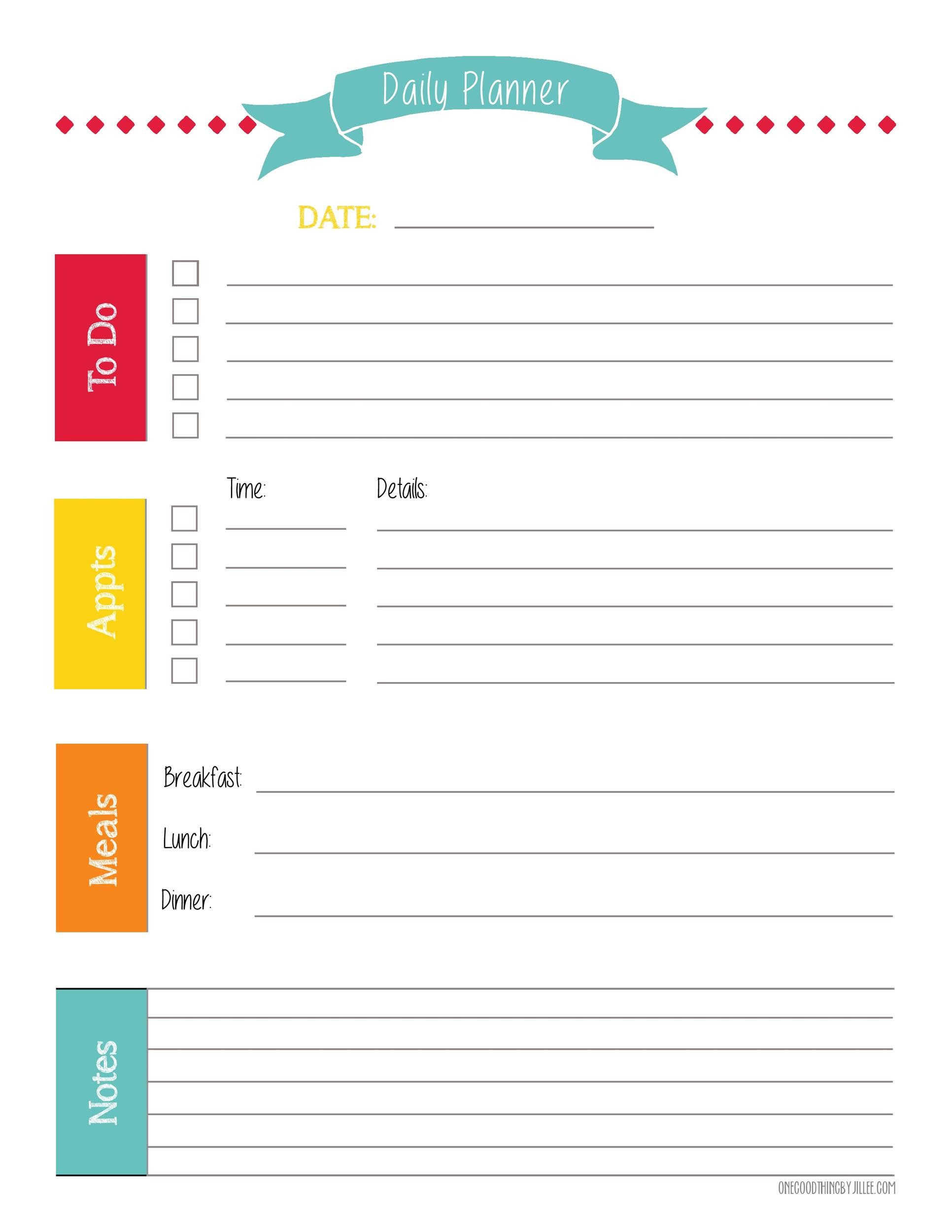Printable Daily Planner Template 34  Downloadable Daily Planner