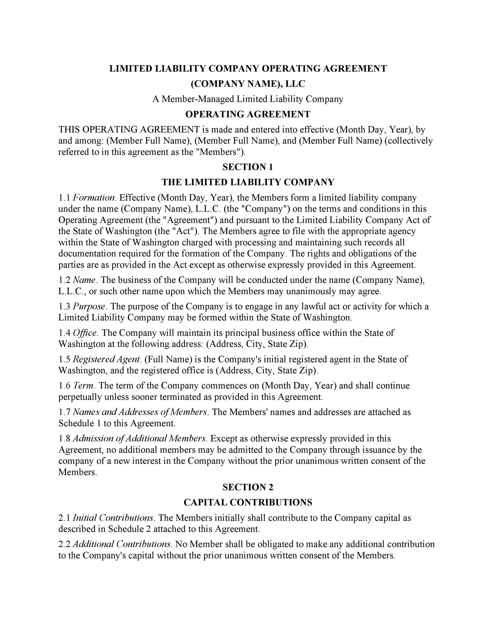 Superb Printable Llc Operating Agreement Template 01