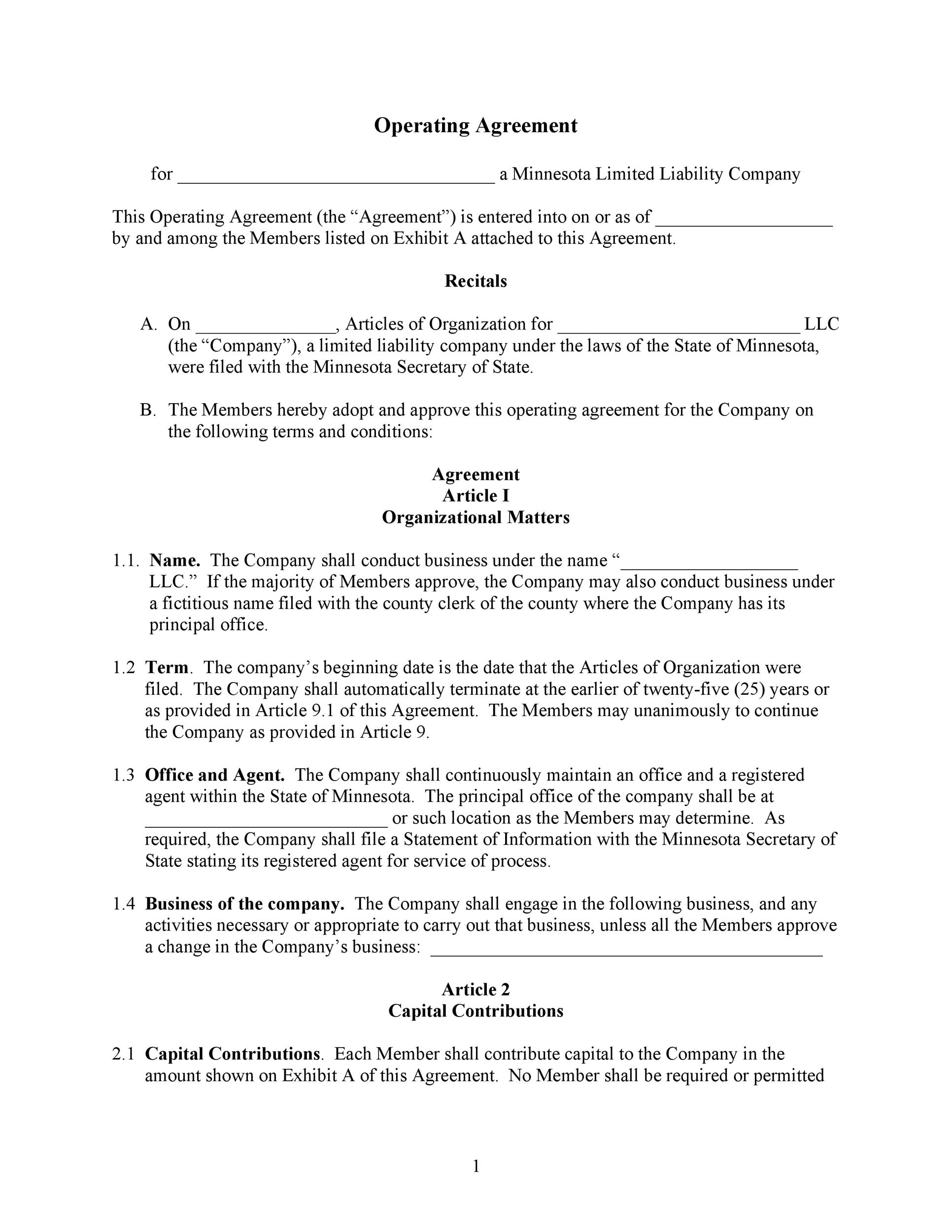 operating agreement llc arkansas  30 Professional LLC Operating Agreement Templates - Template Lab
