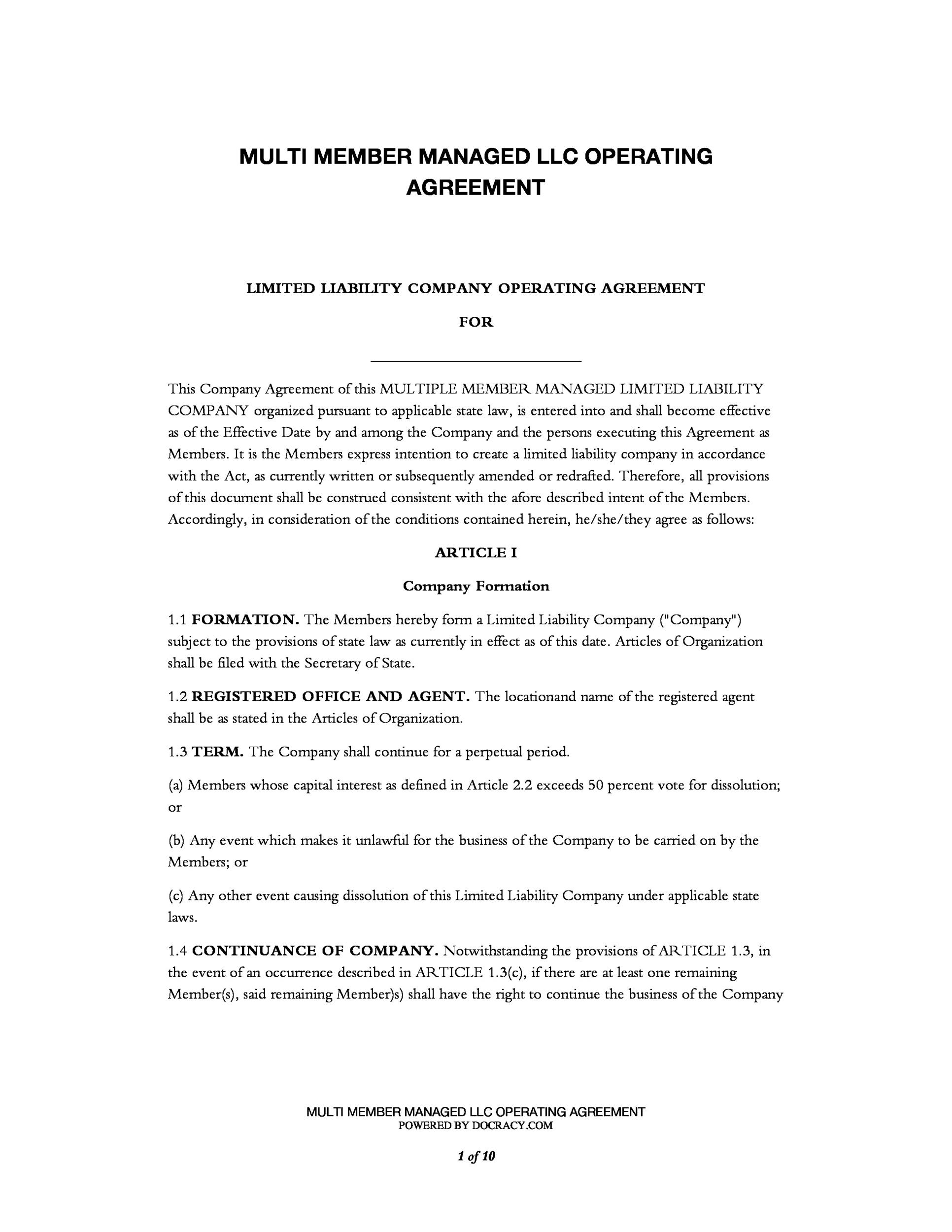 Free llc operating agreement template 04