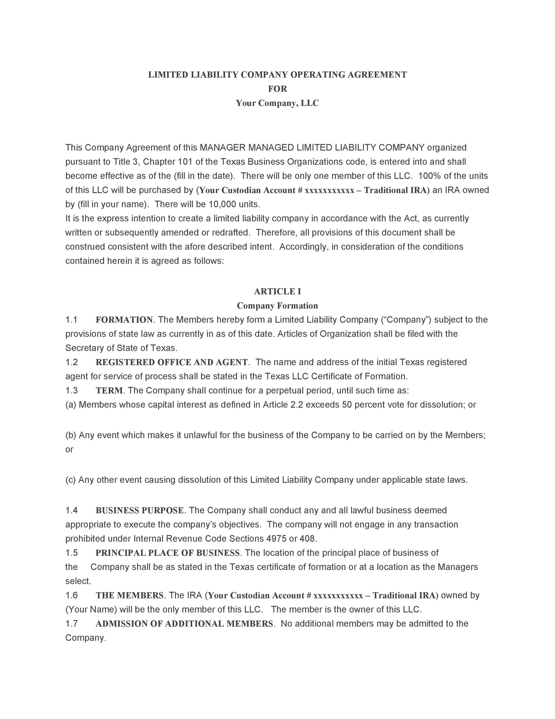 Free llc operating agreement template 06