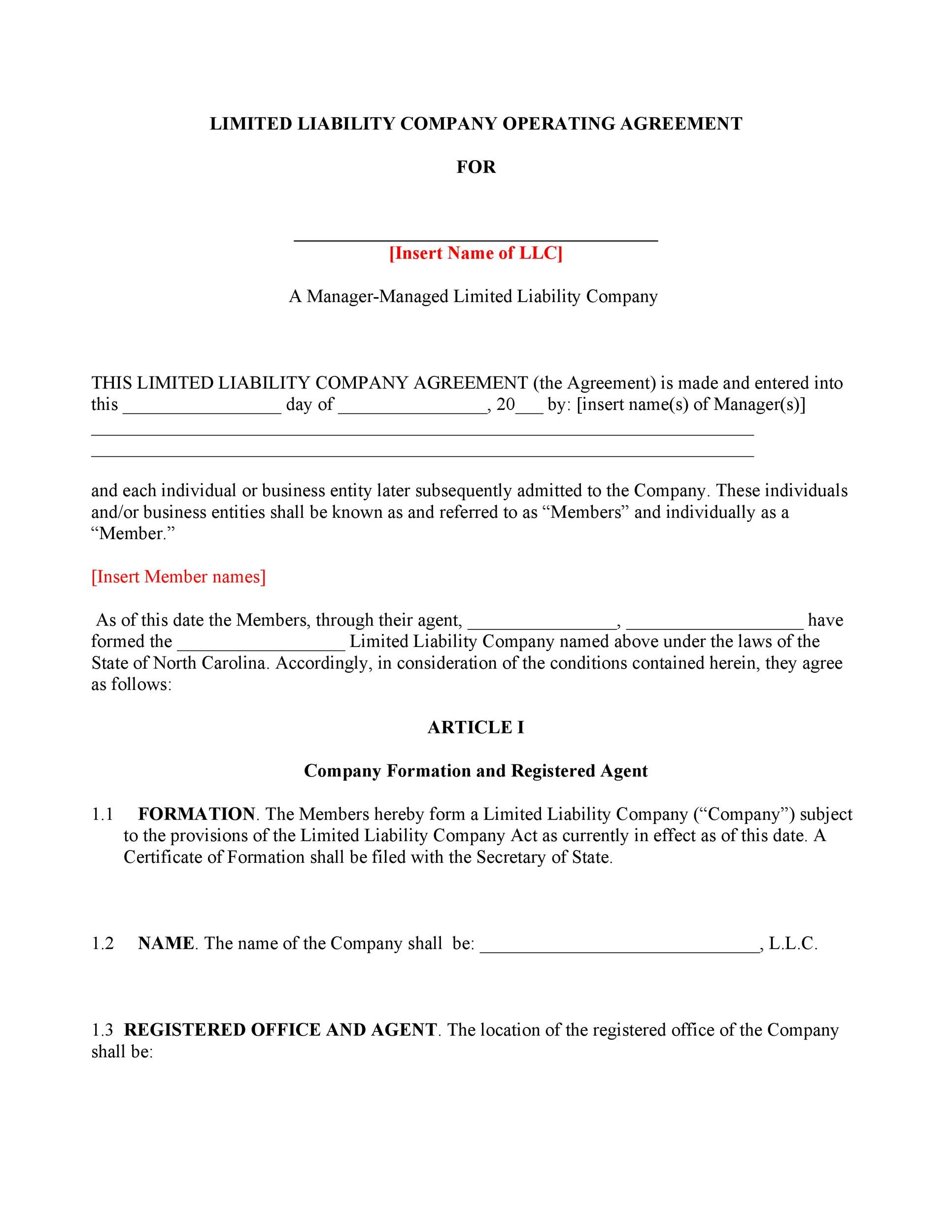 Free llc operating agreement template 08