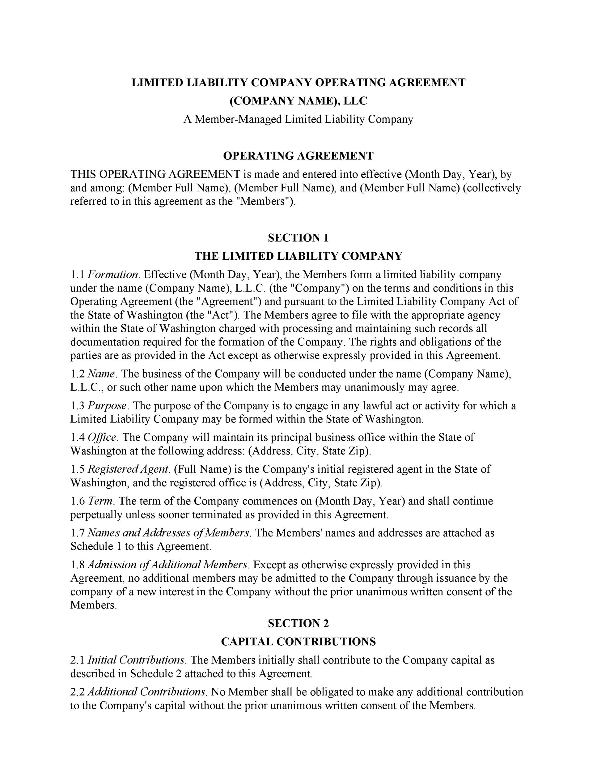 Free llc operating agreement template 09