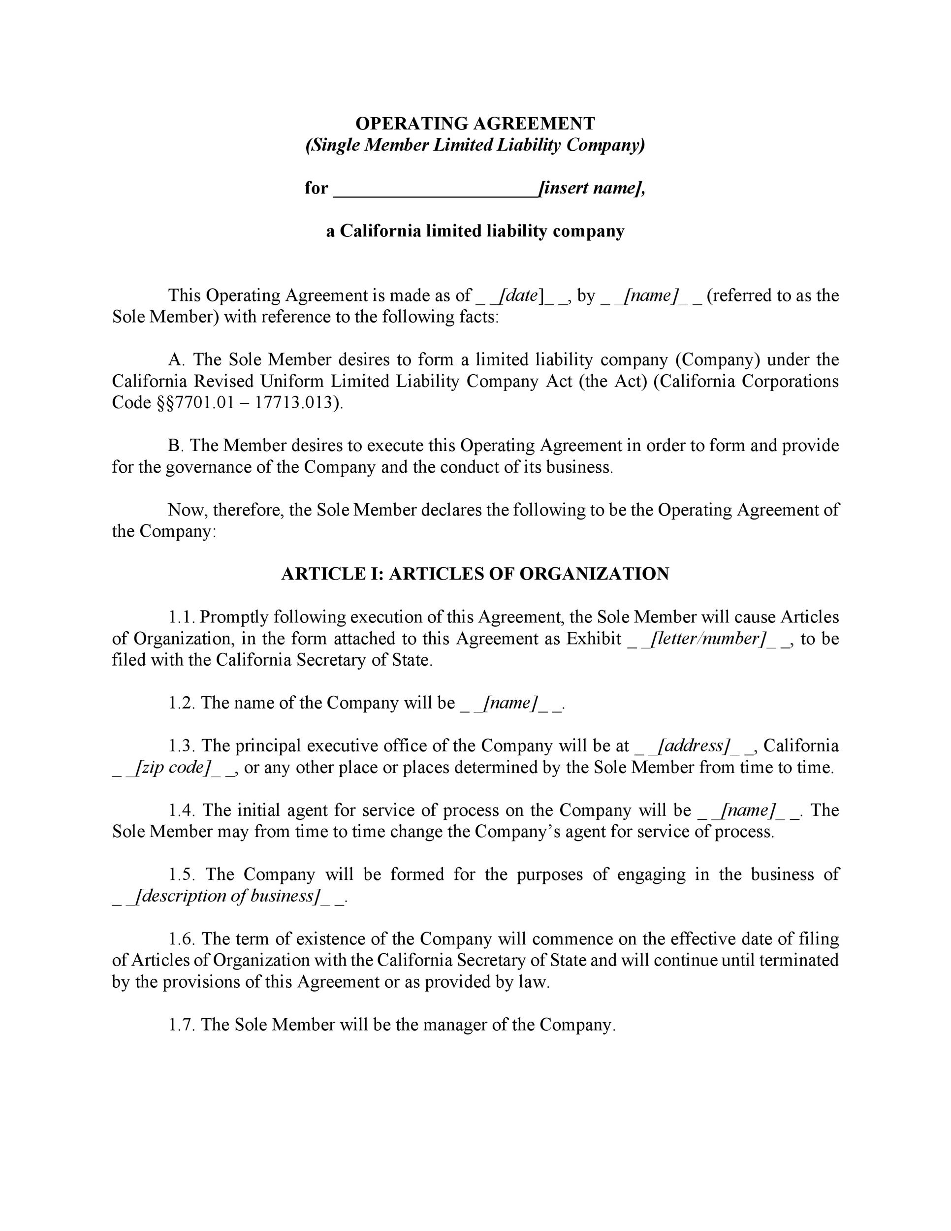Free llc operating agreement template 11